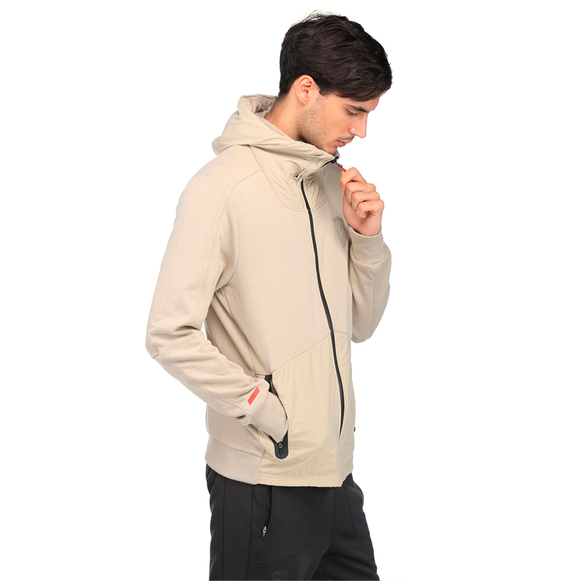 Thumbnail 3 of Ferrari Lifestyle Men's Hooded Sweat Jacket, Pure Cashmere, medium-IND