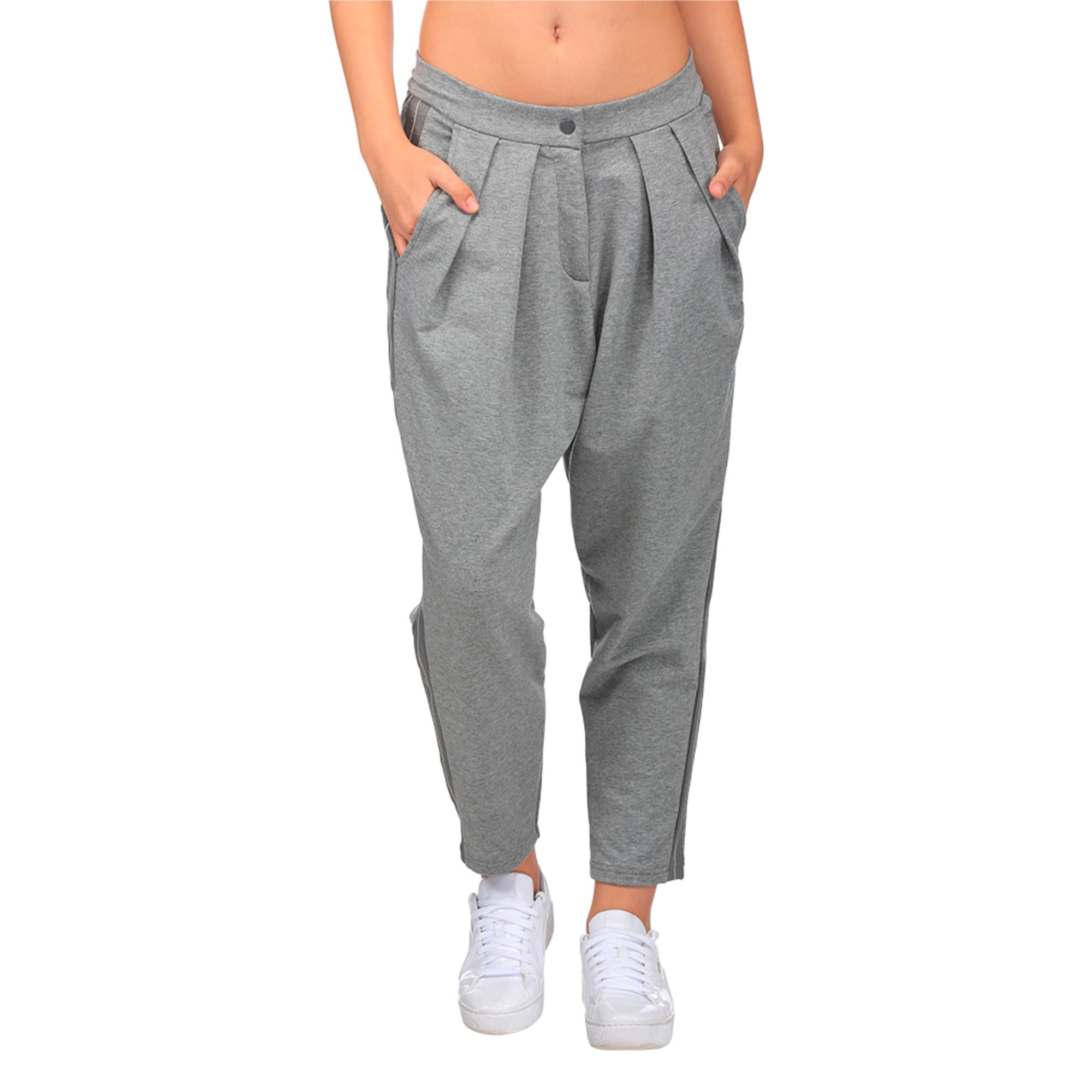 Thumbnail 1 of Evolution Women's Tape High Waist Sweatpants, Medium Gray Heather, medium-IND