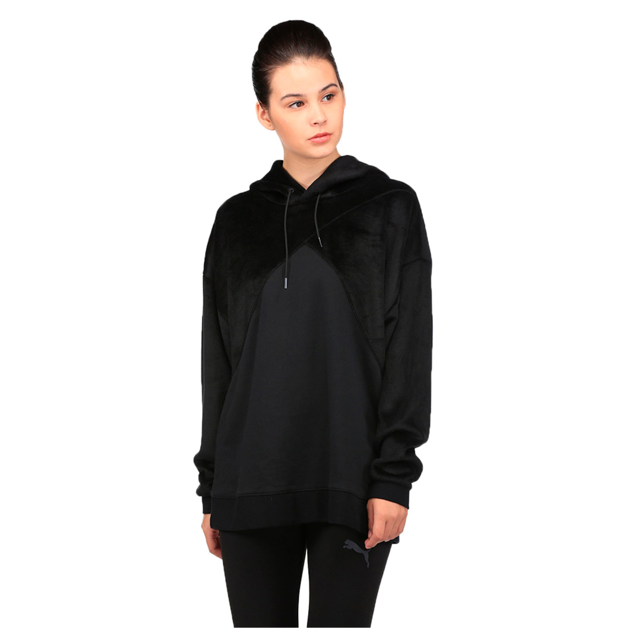 Thumbnail 2 of Archive Women's Fabric Block Oversized Hoodie, Puma Black, medium-IND