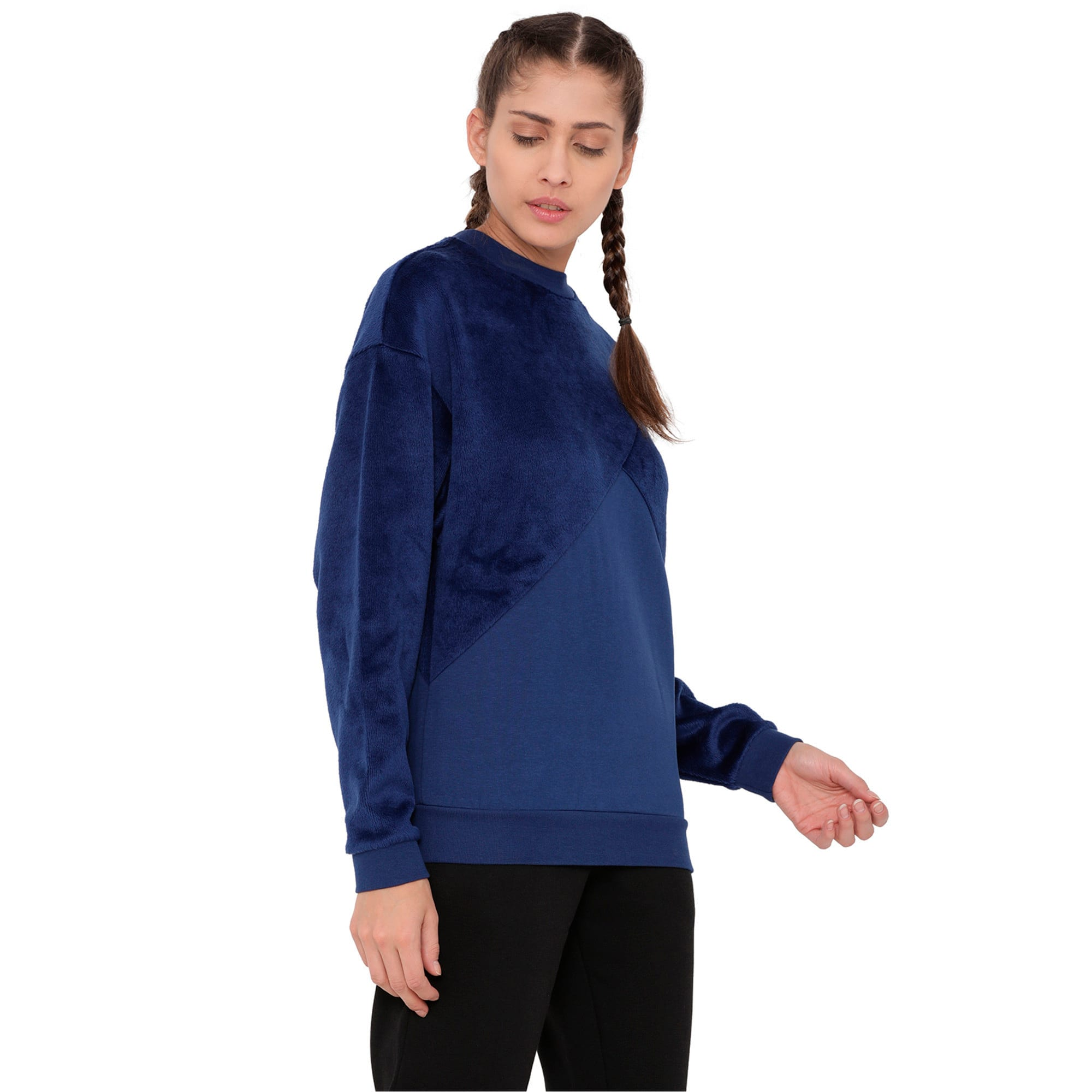 Thumbnail 3 of Archive Women's Fabric Block Sweater, Blue Depths, medium-IND