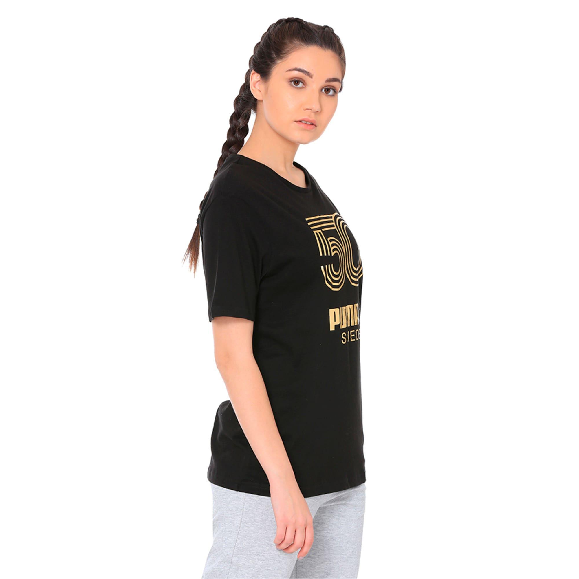 Thumbnail 4 of Women's Graphic T-shirt, Cotton Black, medium-IND