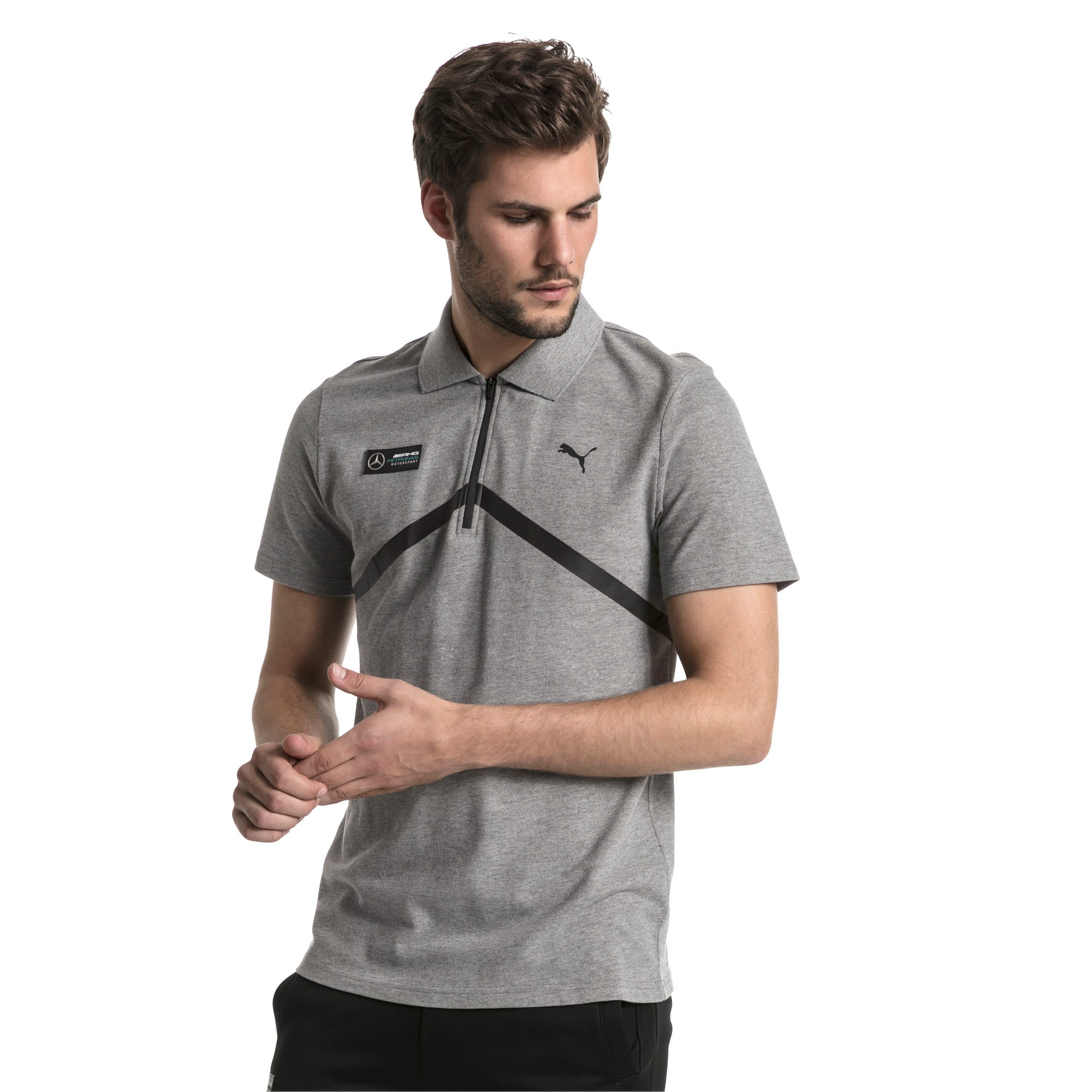Thumbnail 2 of MERCEDES AMG PETRONAS Men's Polo, Medium Gray Heather, medium