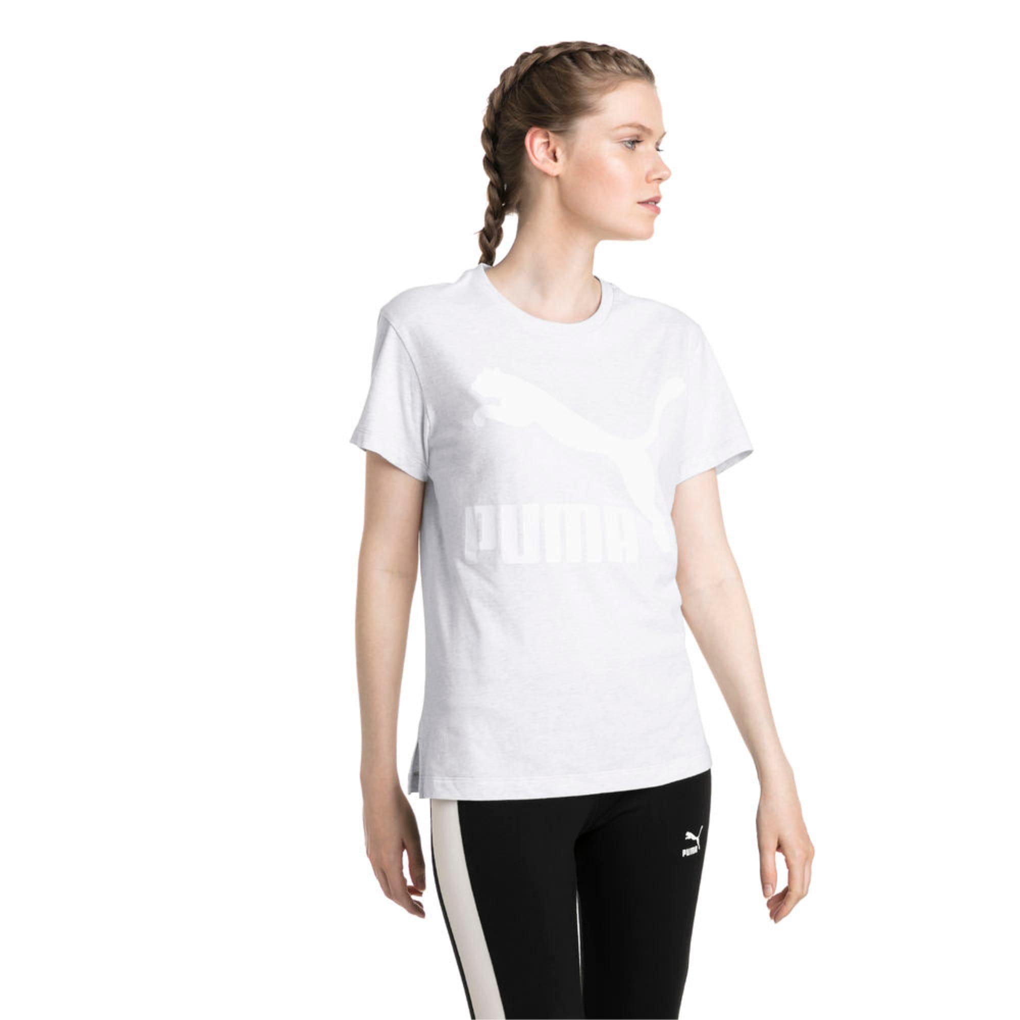 Thumbnail 5 of Classics Logo Women's T-Shirt, Puma White Heather-B1004, medium-IND