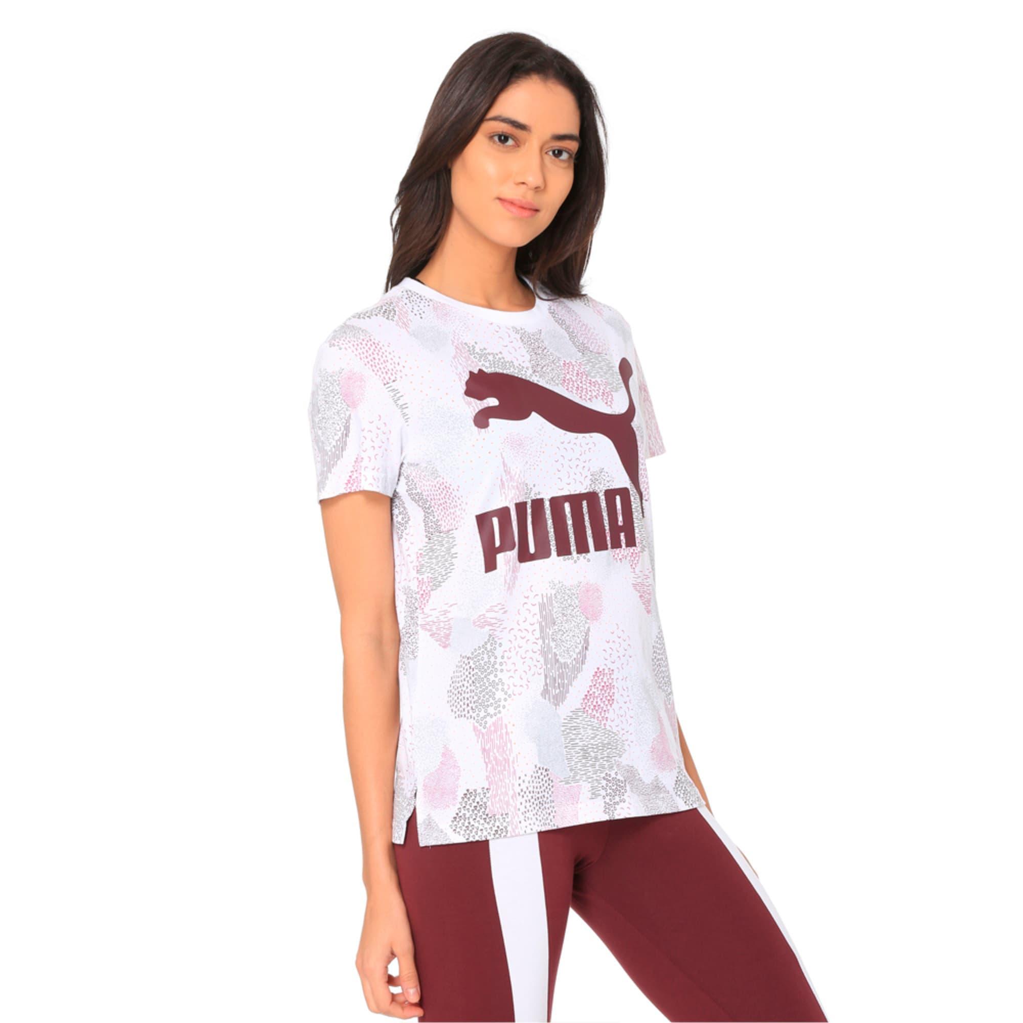 Thumbnail 2 of Classics All-Over Print Logo Women's Tee, Puma White, medium-IND