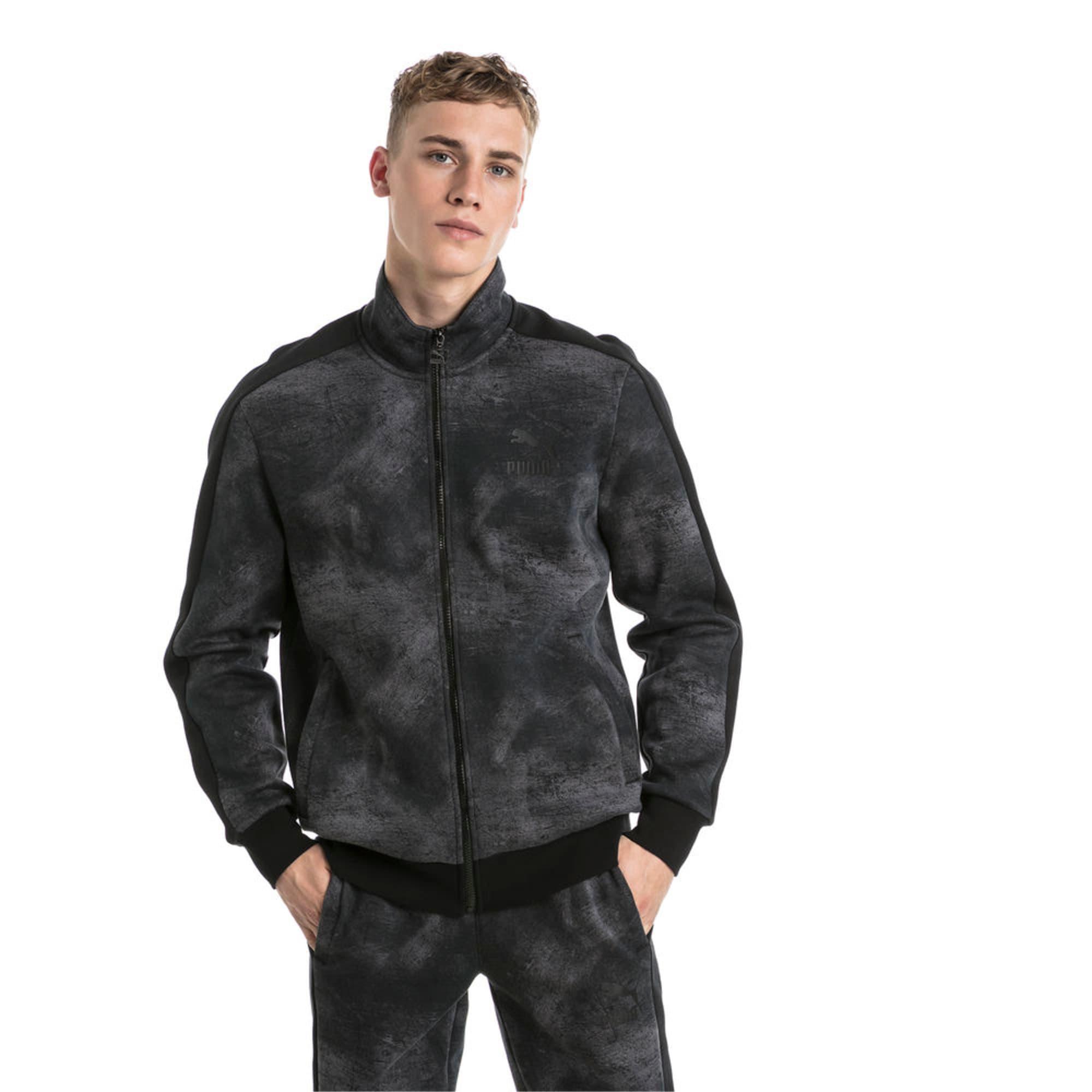 Thumbnail 2 of Classics All-Over Print T7 Men's Jacket, Puma Black-2, medium-IND