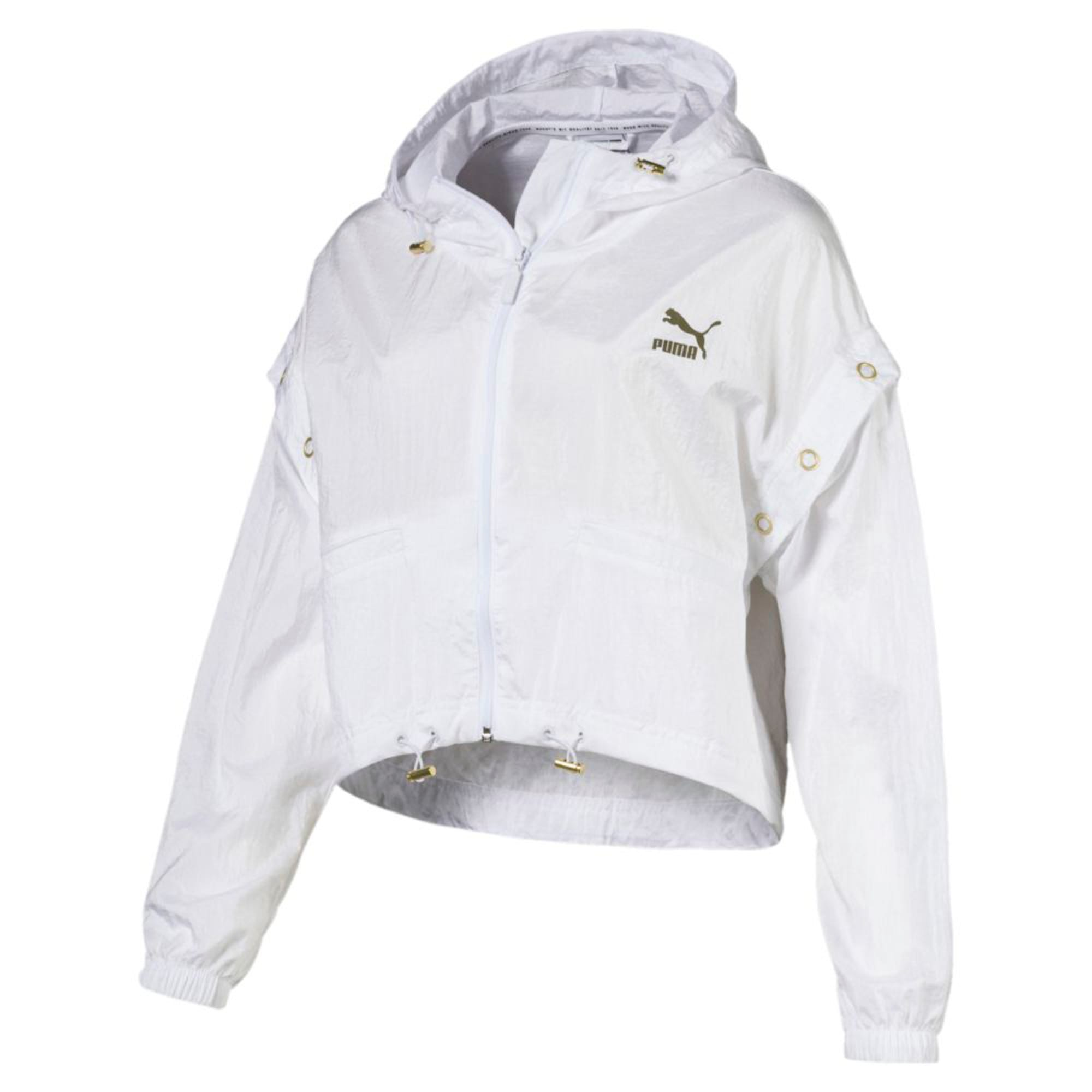 Thumbnail 4 of Retro Windrunner Zip-Up Women's Hooded Jacket, Puma White, medium-IND