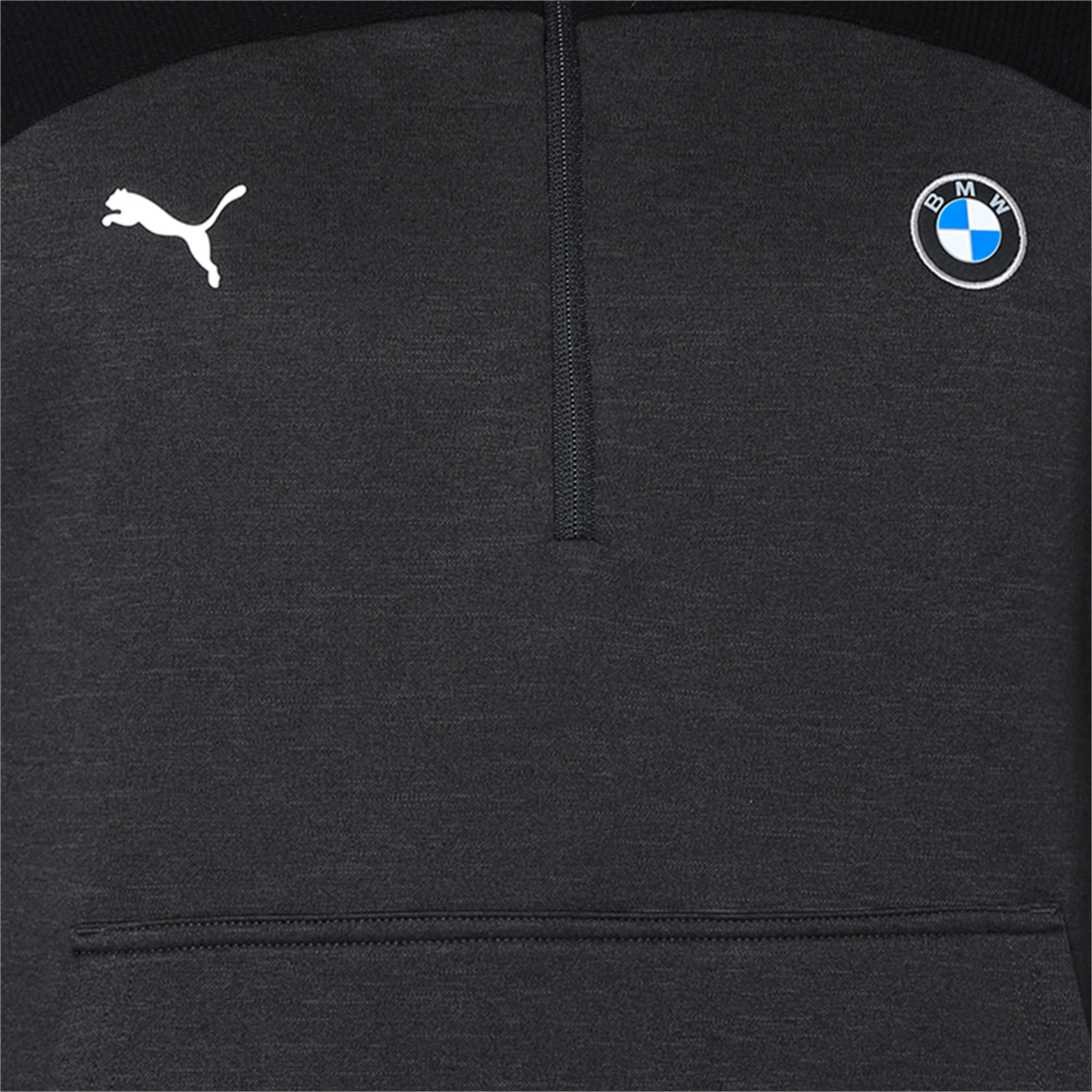 Thumbnail 6 of BMW MMS evoKNIT Quarter Zip Hooded Men's Pullover, Puma Black Heather, medium-IND