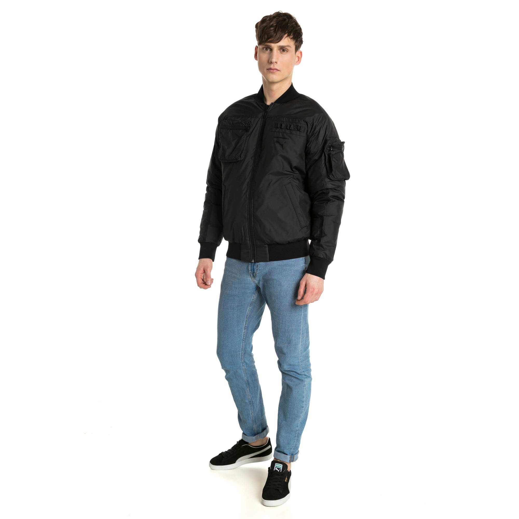 Thumbnail 4 of Pace Lab Zip-Up Down Men's Bomber, Puma Black, medium-IND