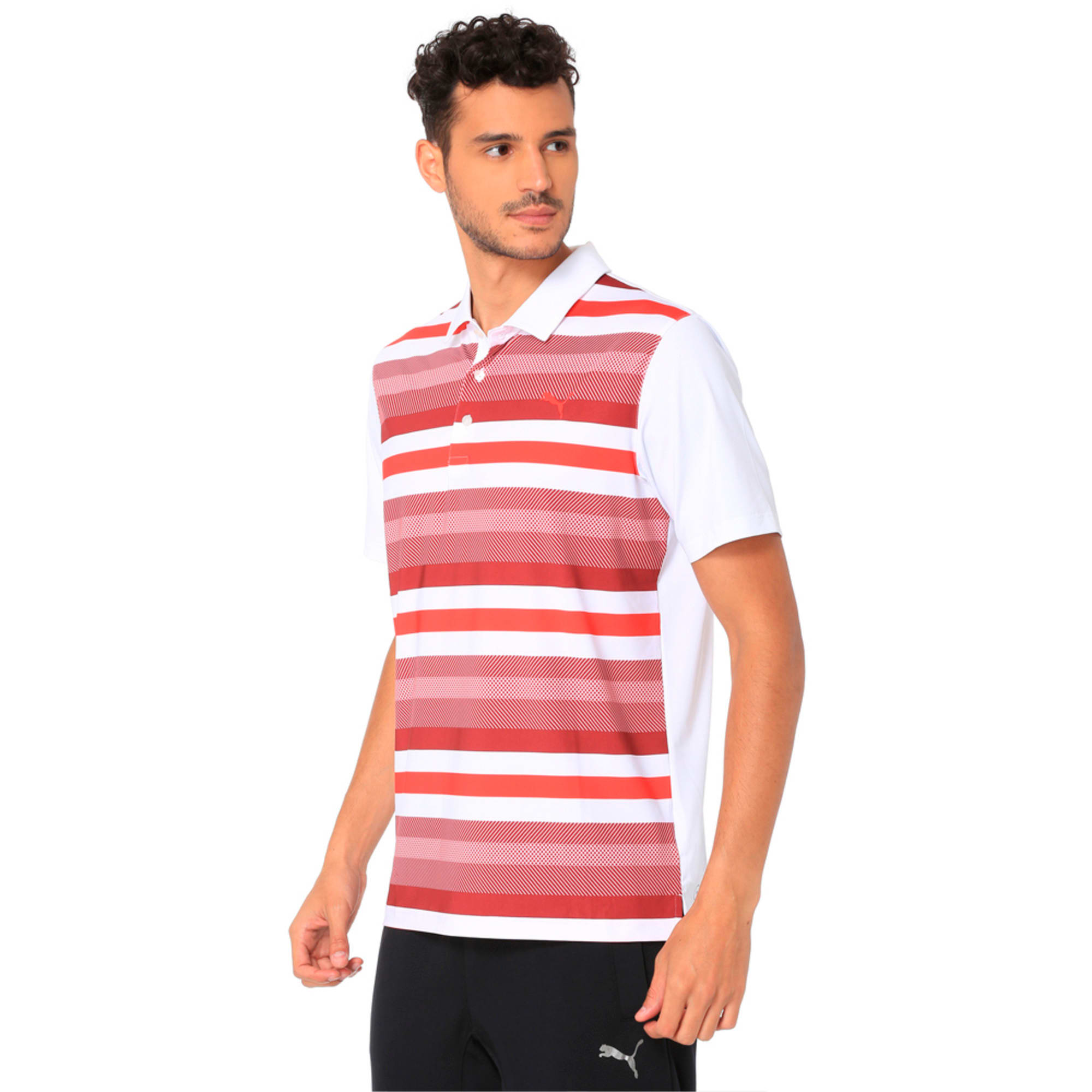 Thumbnail 5 of Golf Men's Turf Stripe Polo, Bright White-Pomegranate, medium-IND