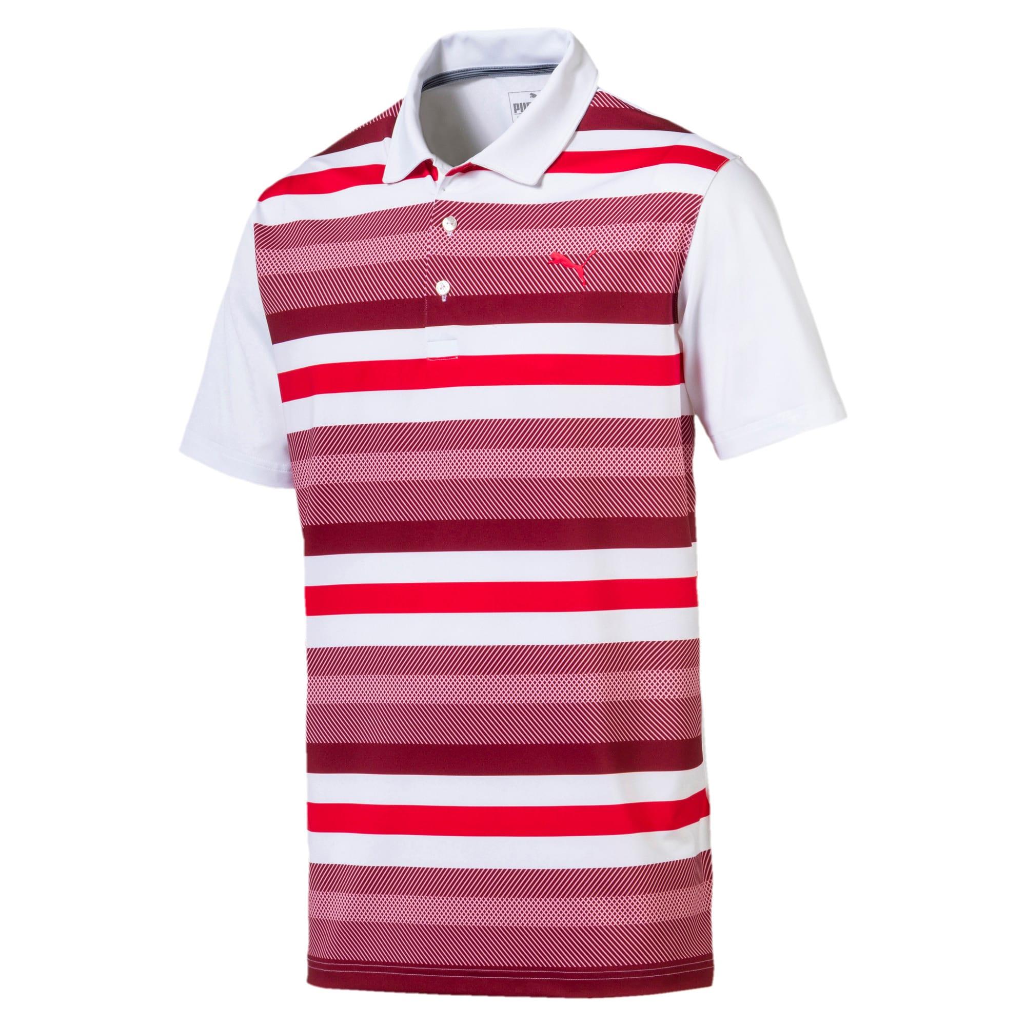 Thumbnail 4 of Golf Men's Turf Stripe Polo, Bright White-Pomegranate, medium-IND