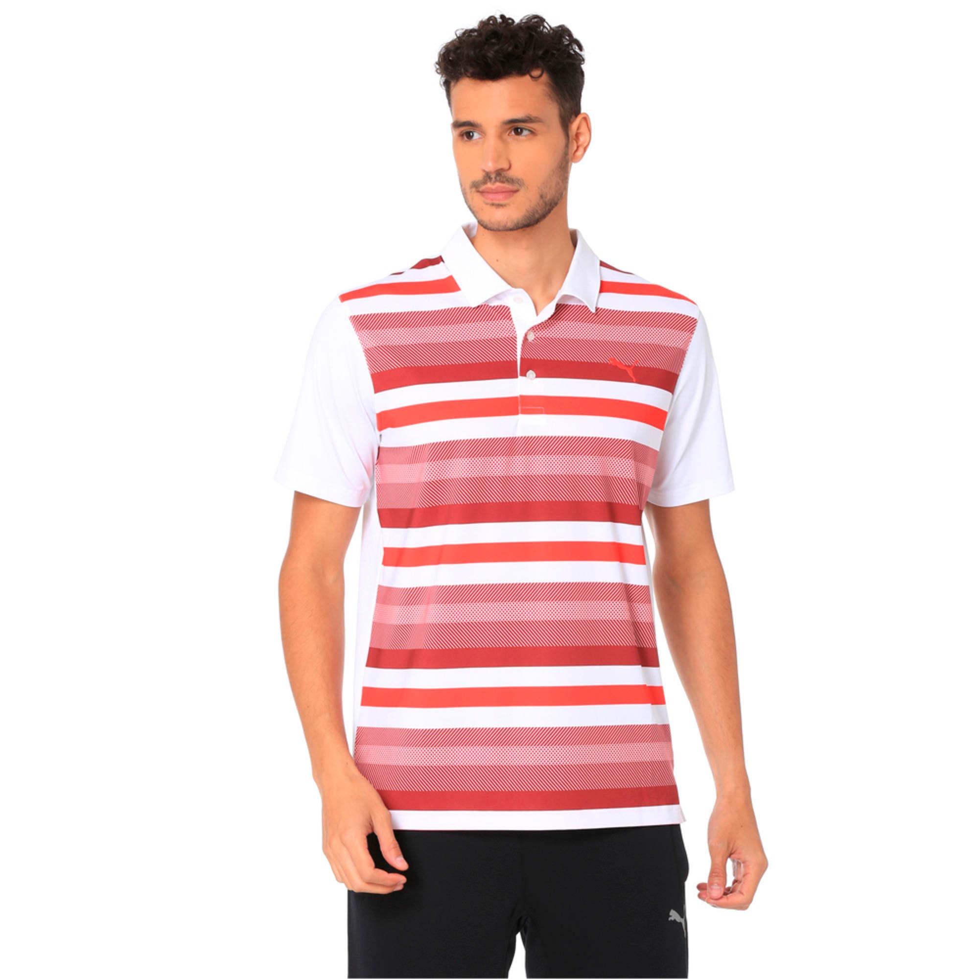 Thumbnail 1 of Golf Men's Turf Stripe Polo, Bright White-Pomegranate, medium-IND