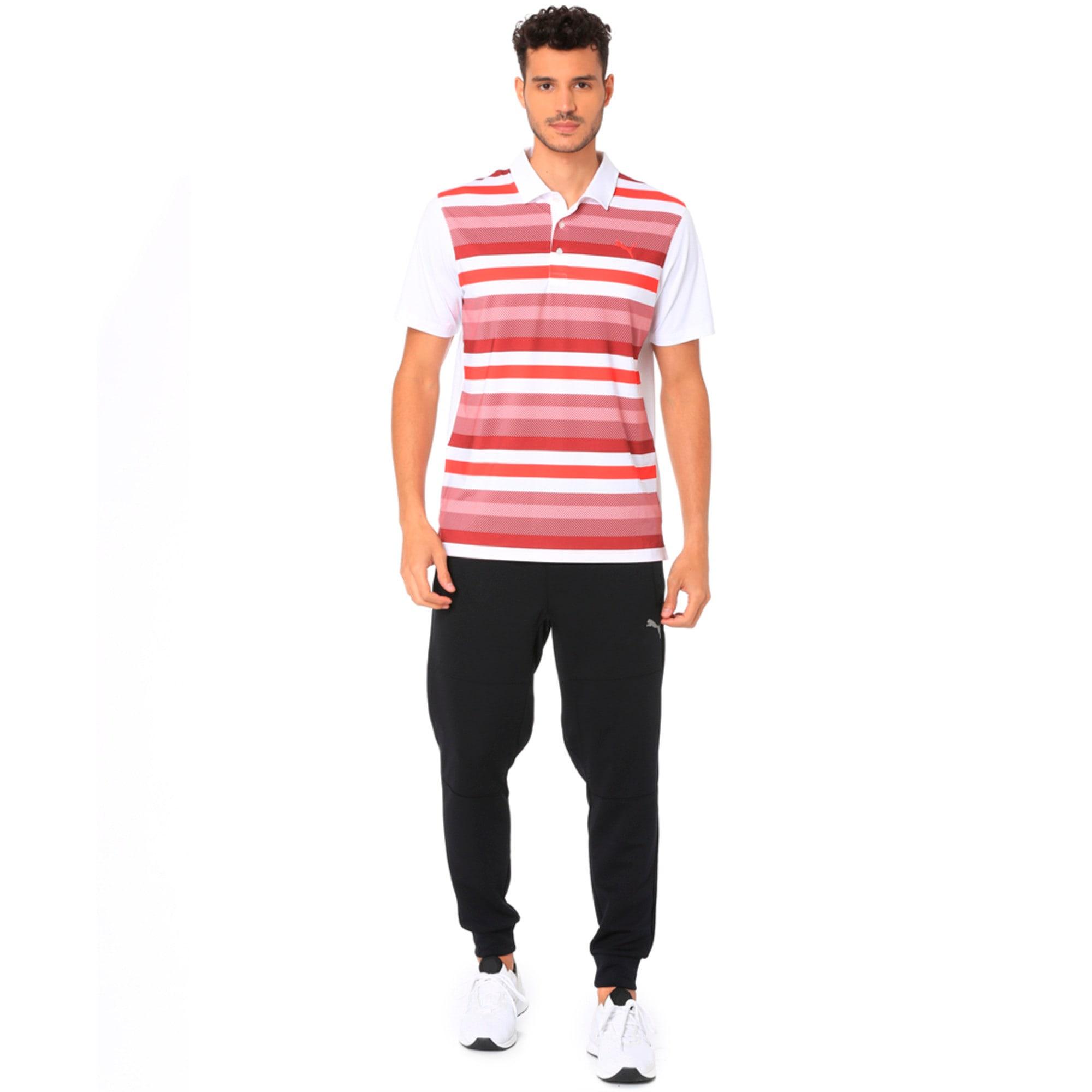 Thumbnail 2 of Golf Men's Turf Stripe Polo, Bright White-Pomegranate, medium-IND