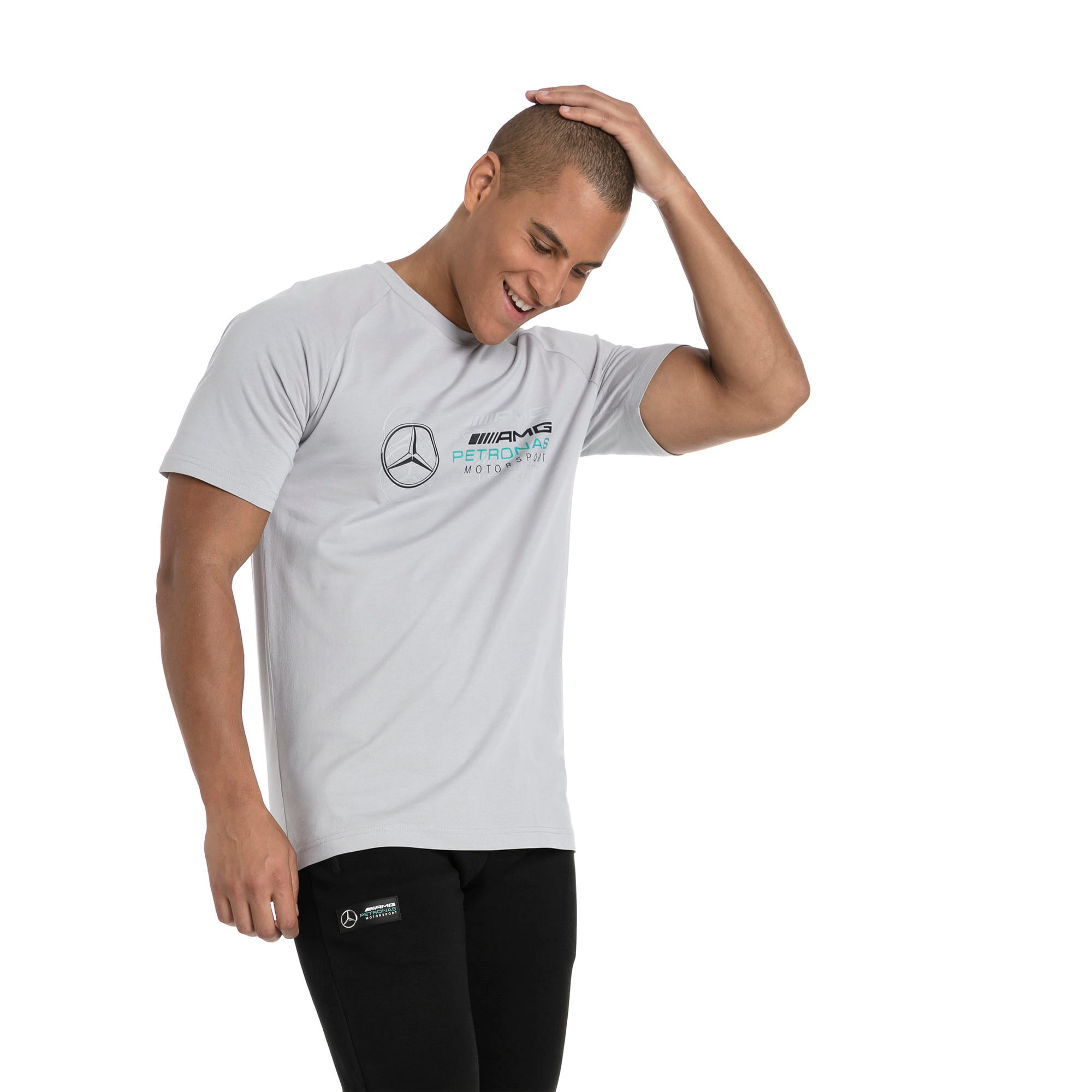 Thumbnail 1 of MERCEDES AMG PETRONAS Men's Logo T-Shirt, Mercedes Team Silver, medium