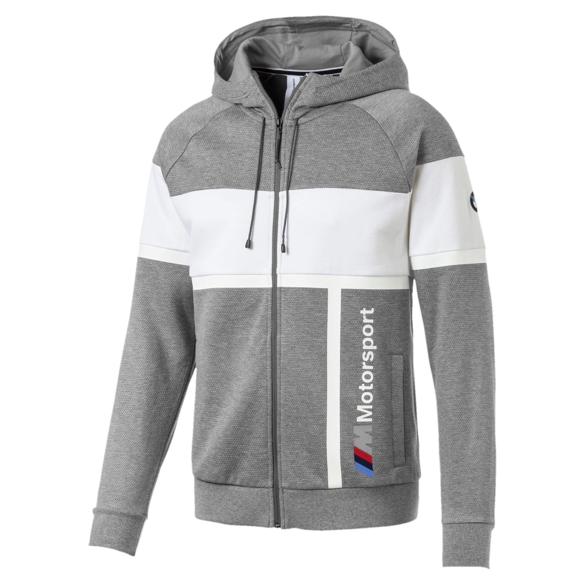 Thumbnail 1 of BMW M Motorsport Men's Hooded Sweat Jacket, Medium Gray Heather, medium
