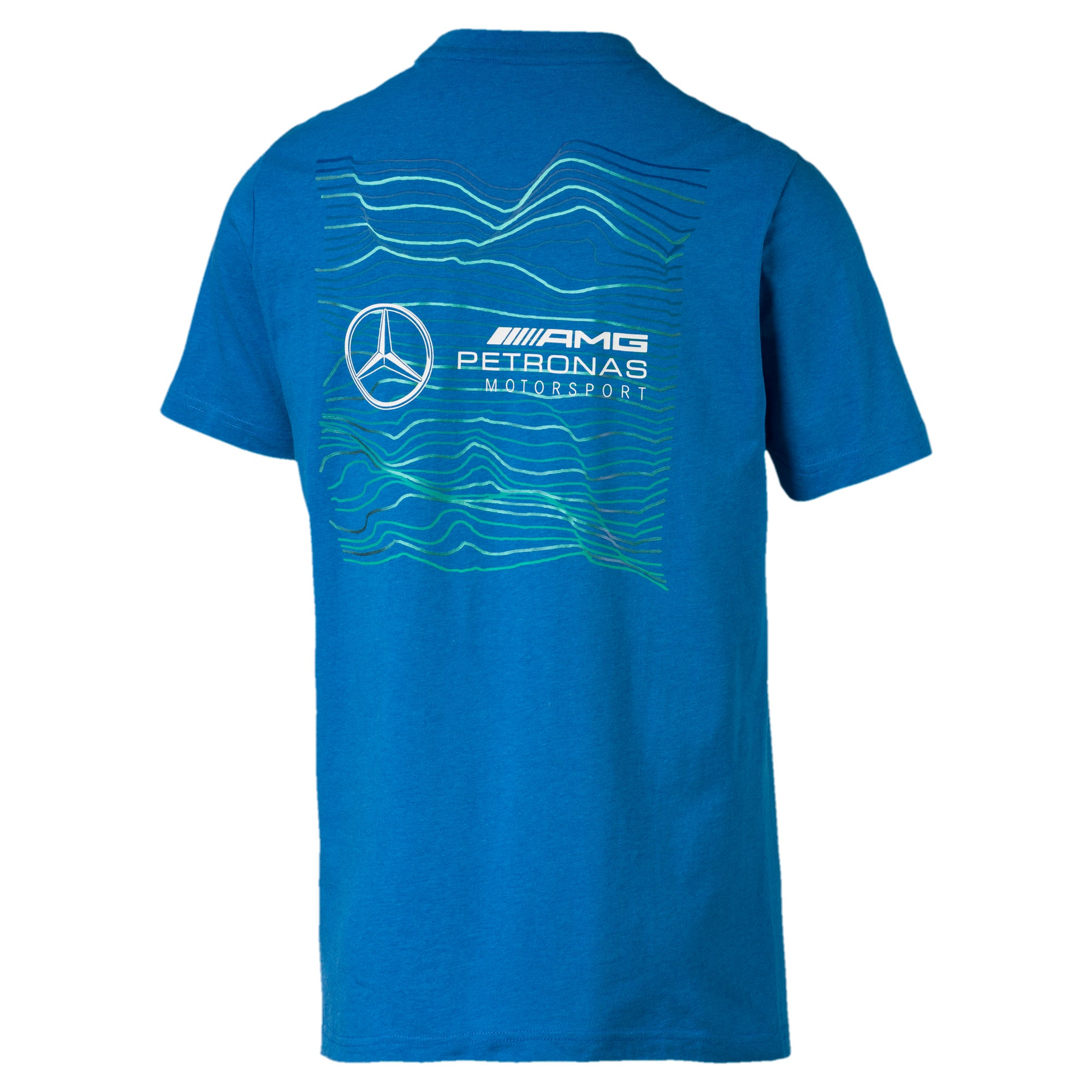 Thumbnail 2 of Mercedes AMG Petronas Motorsport Logo Men's Tee, Indigo Bunting Heather, medium