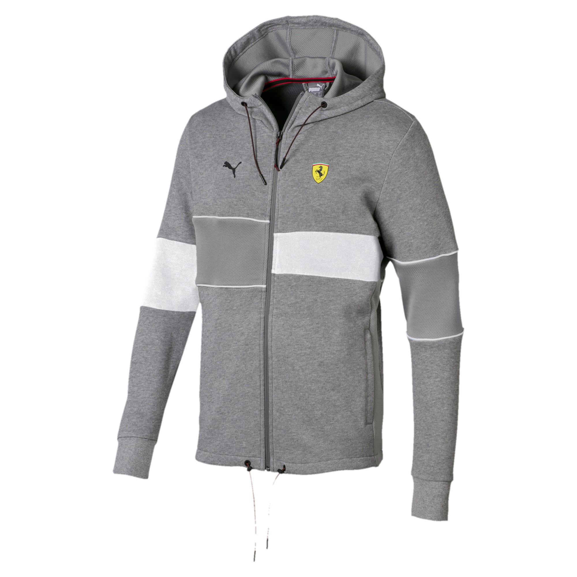 Thumbnail 4 of Ferrari Hooded Zip-Up Men's Jacket, Medium Gray Heather, medium-IND