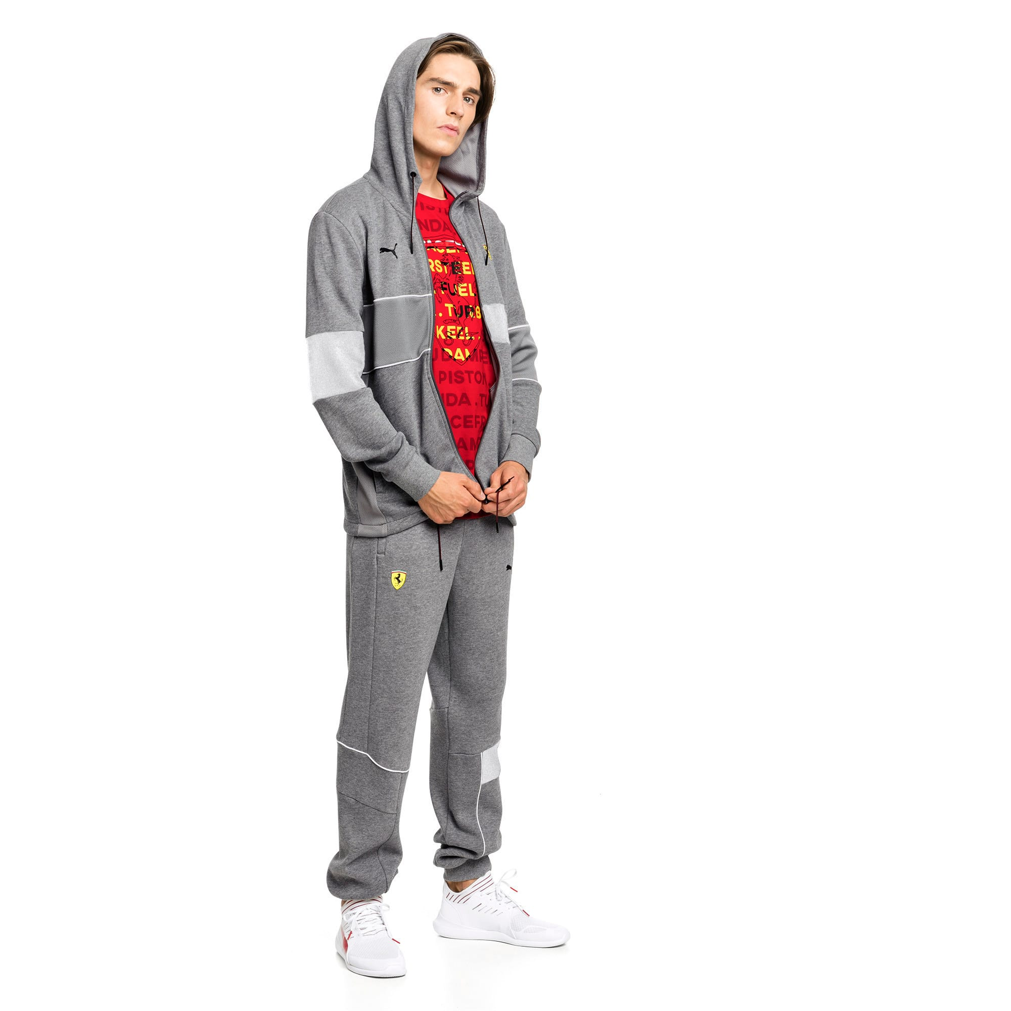 Thumbnail 3 of Ferrari Hooded Zip-Up Men's Jacket, Medium Gray Heather, medium-IND