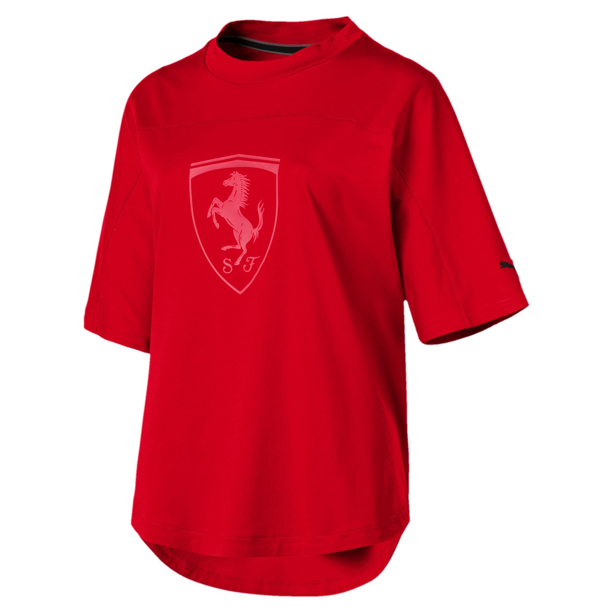 Thumbnail 4 of T-shirt con stemma grande Ferrari donna, Rosso Corsa, medium