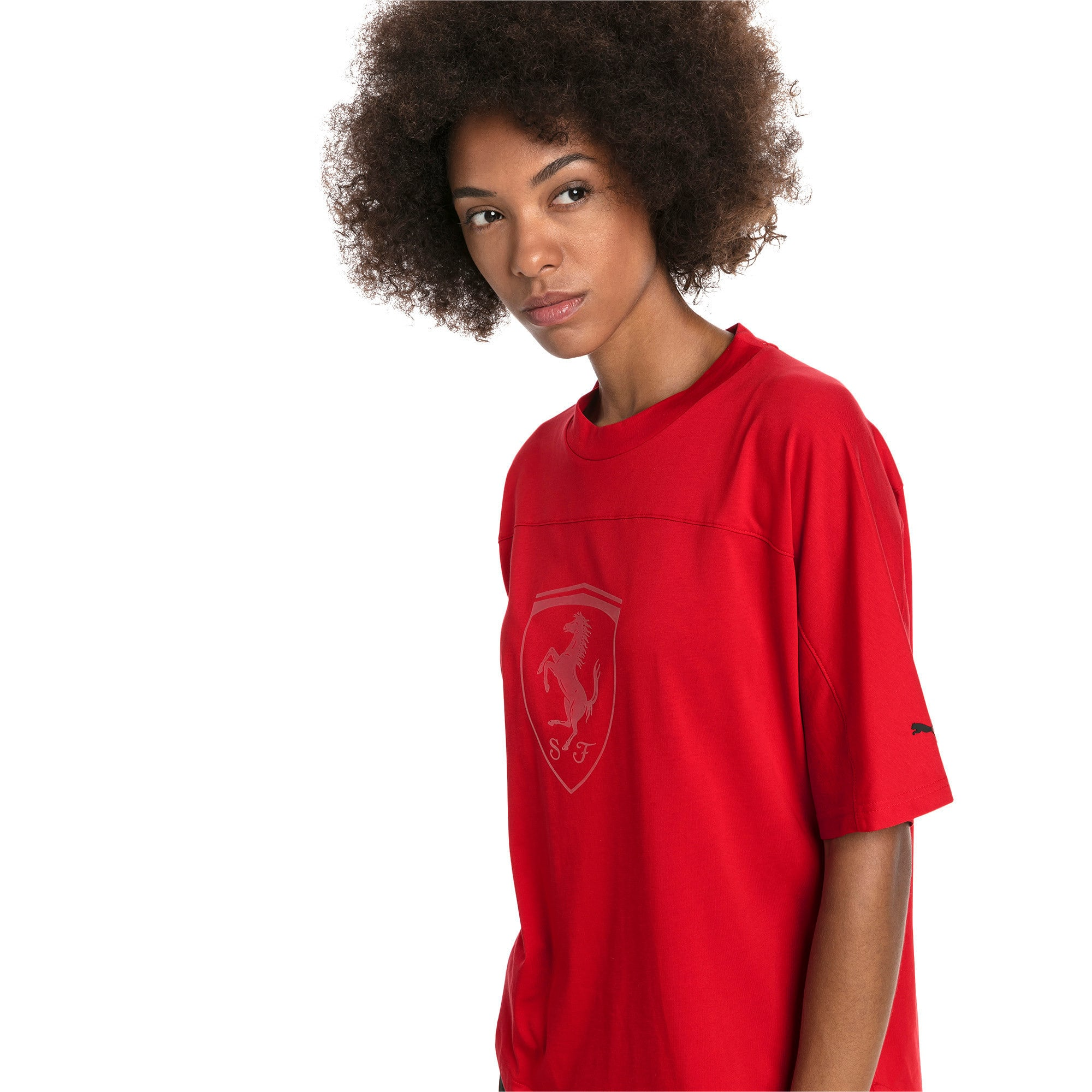 Thumbnail 1 of T-shirt con stemma grande Ferrari donna, Rosso Corsa, medium
