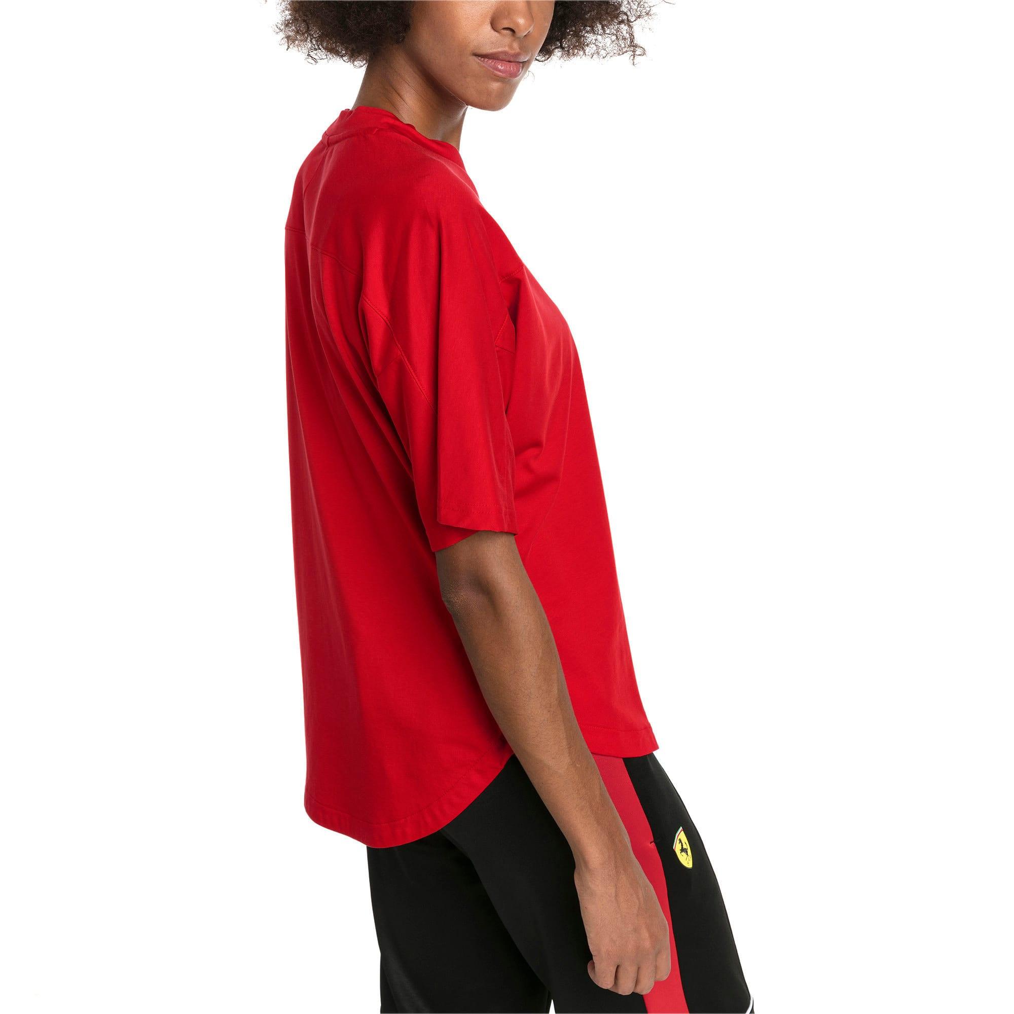 Thumbnail 2 of T-shirt con stemma grande Ferrari donna, Rosso Corsa, medium