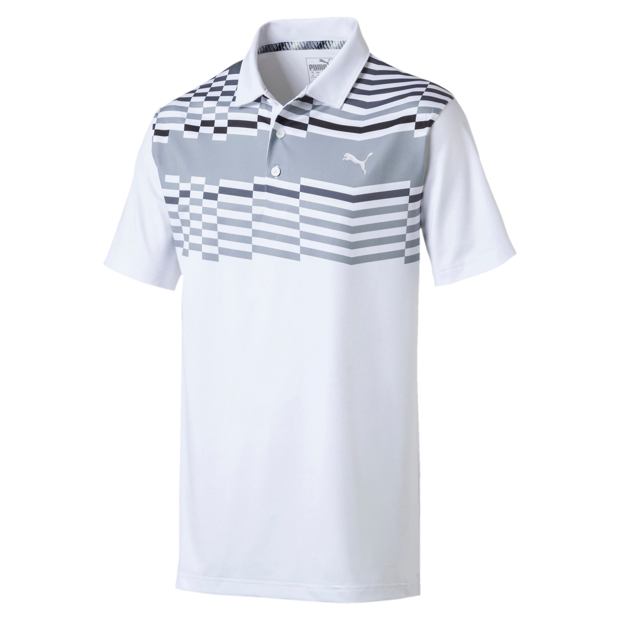 Thumbnail 4 of Road Map Herren Golf Polo, Bright White-Puma Black, medium