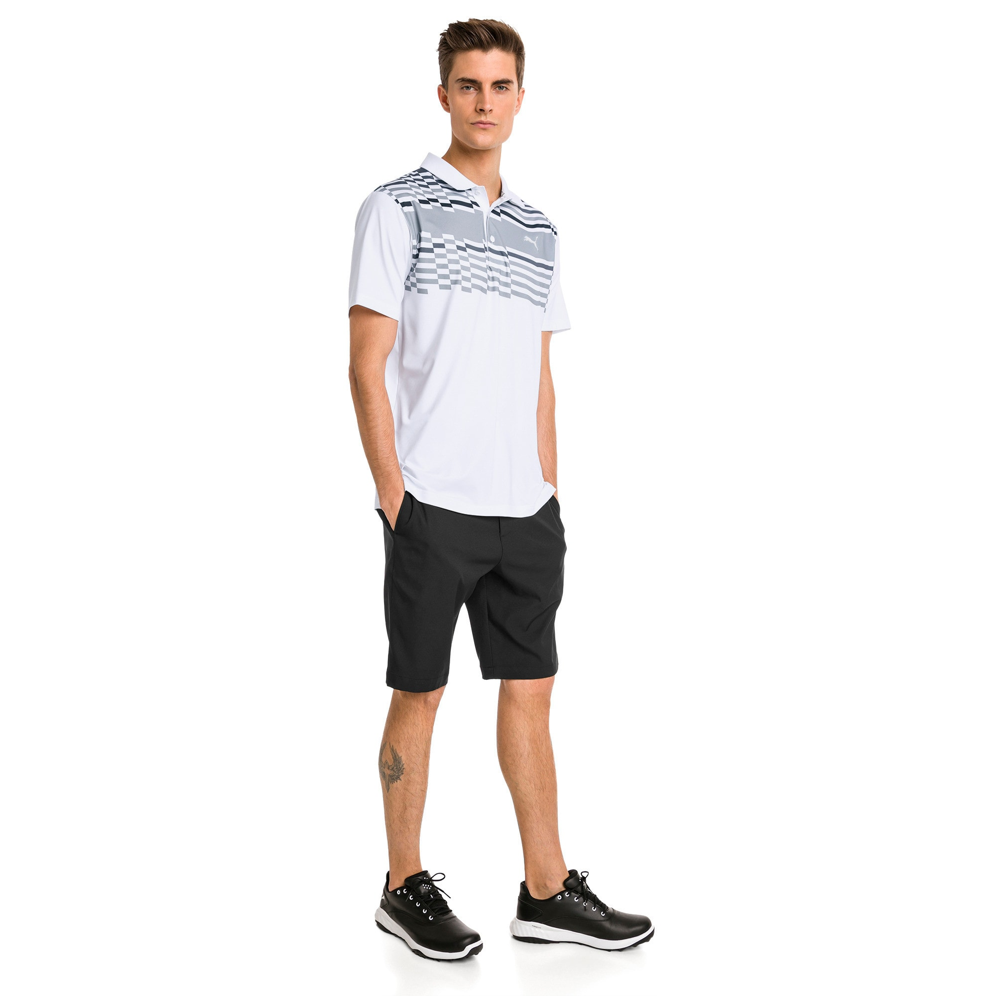 Thumbnail 3 of Road Map Herren Golf Polo, Bright White-Puma Black, medium