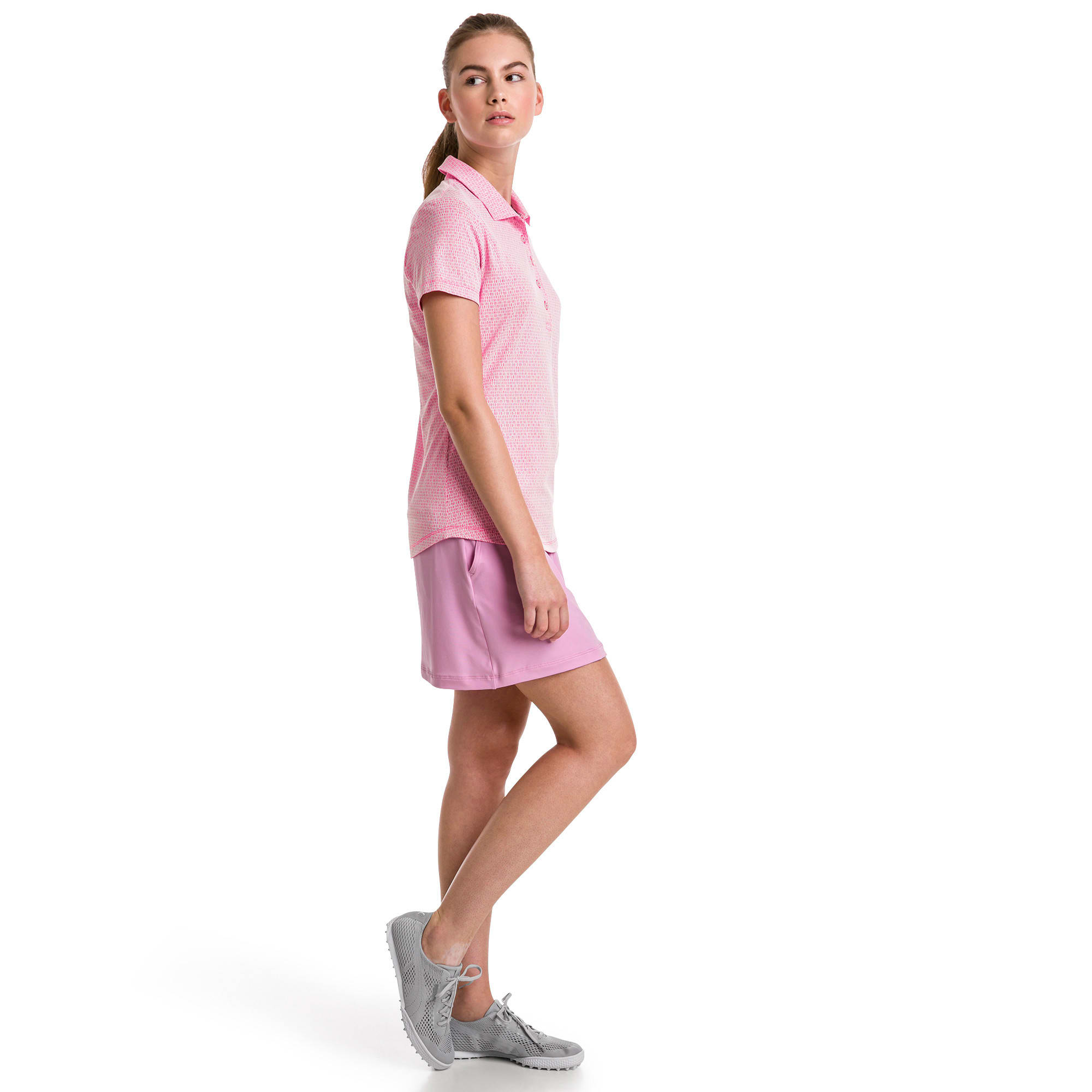 Thumbnail 3 of Swift Women's Golf Polo, Fuchsia Purple-Bright White, medium