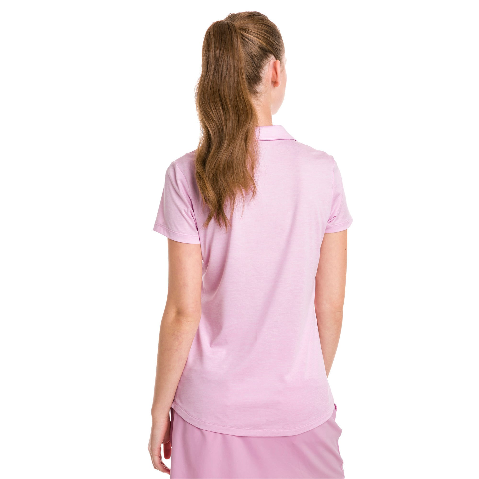 Thumbnail 2 of Super Soft Women's Golf Polo, Pale Pink Heather, medium