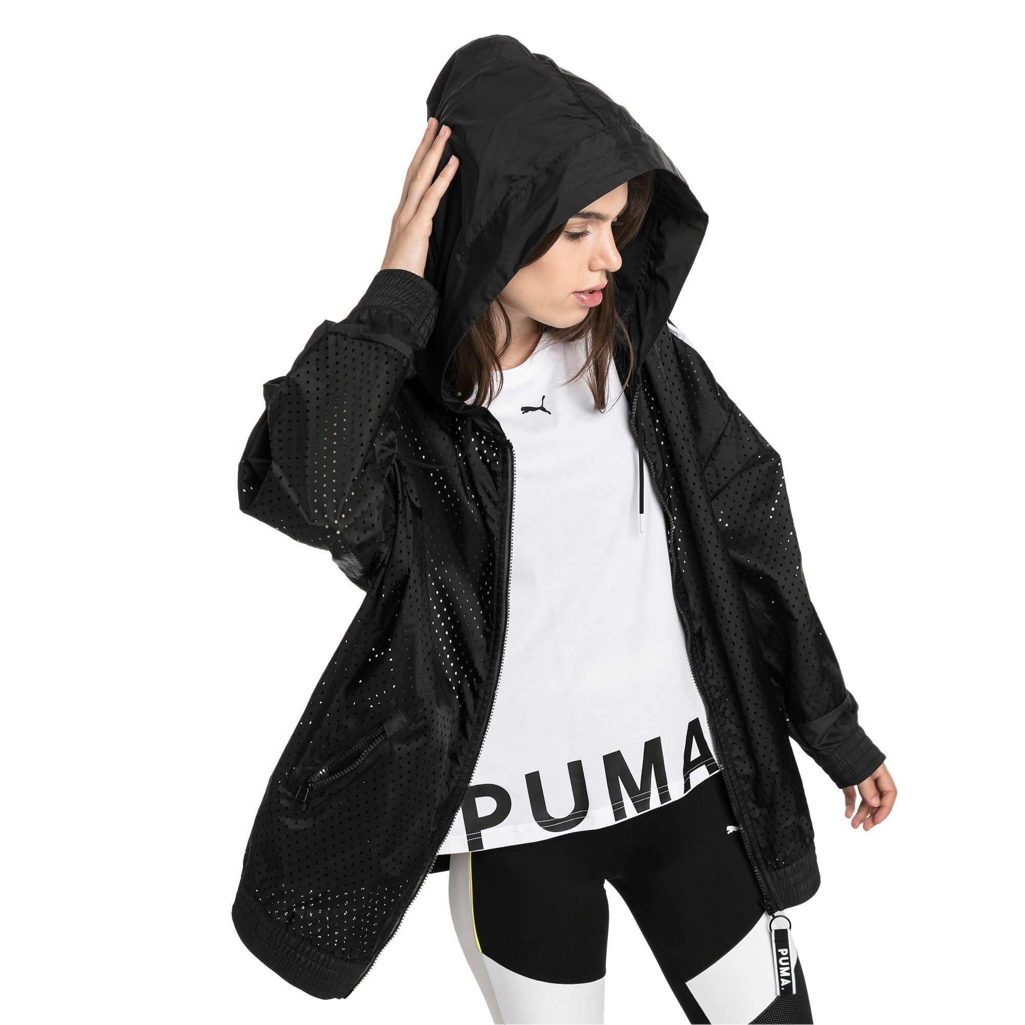 Thumbnail 1 of Chase Woven Full Zip Hooded Women's Jacket, Puma Black, medium-IND