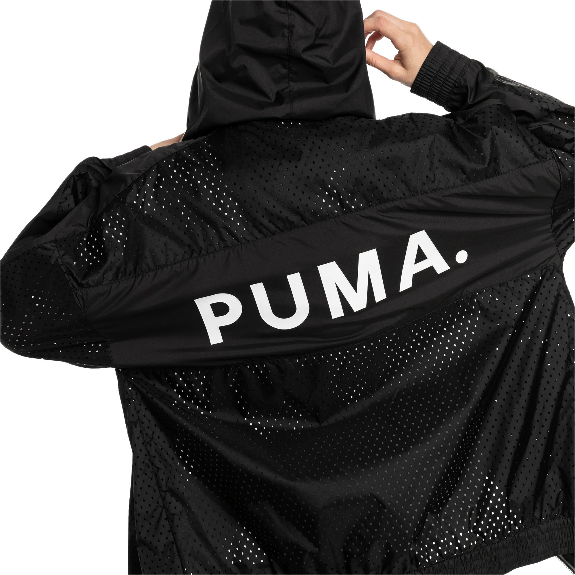 Thumbnail 3 of Chase Woven Full Zip Hooded Women's Jacket, Puma Black, medium-IND
