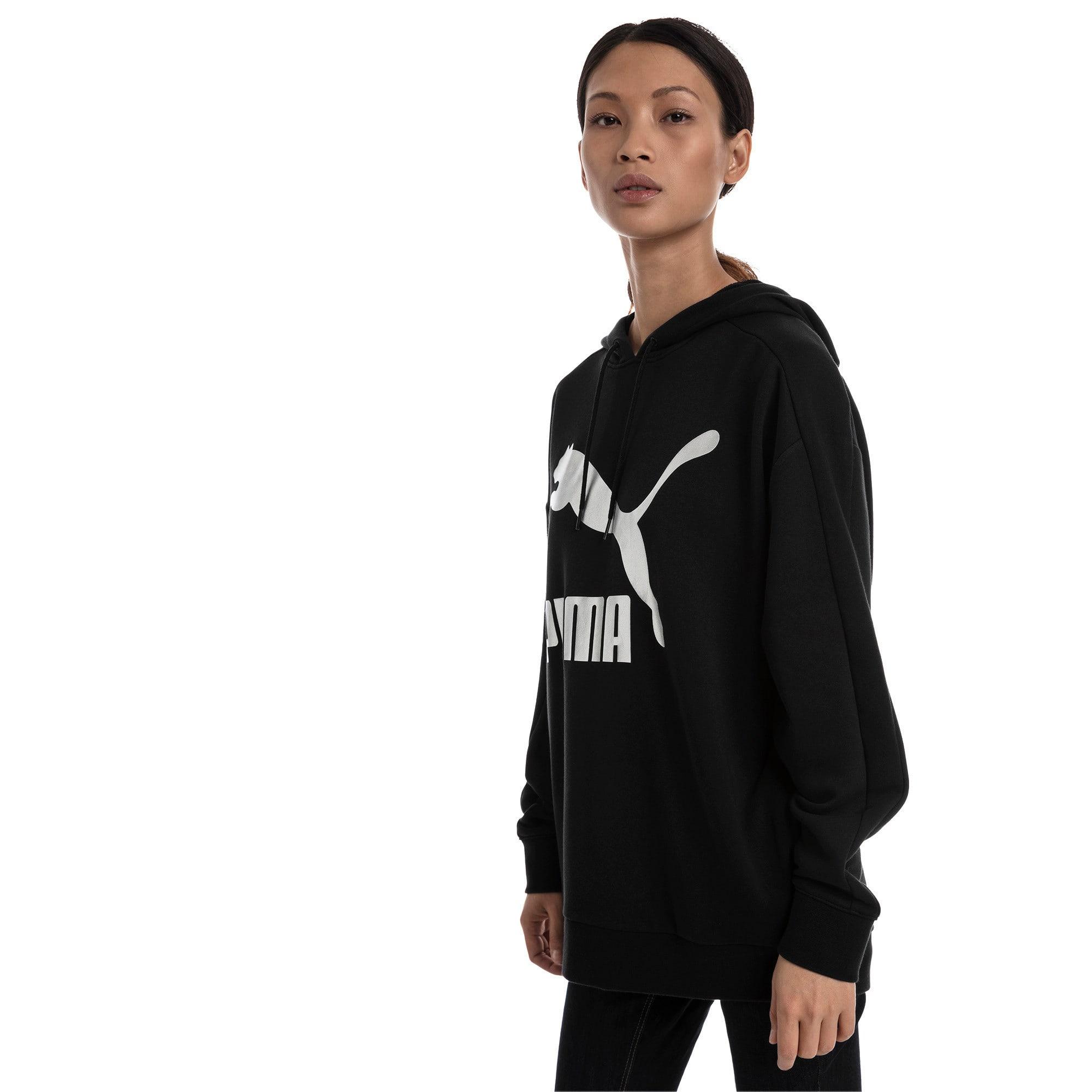 Thumbnail 2 van Classics Logo T7-hoodie voor vrouwen, Zwart katoen-metaal, medium