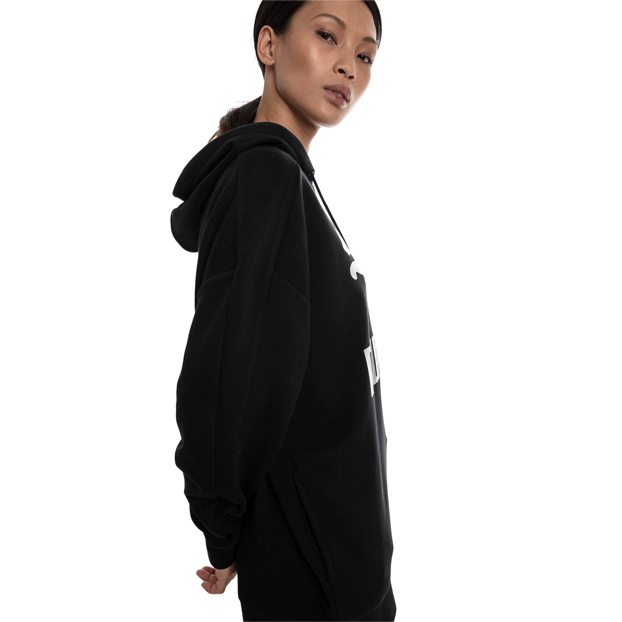 Thumbnail 3 van Classics Logo T7-hoodie voor vrouwen, Zwart katoen-metaal, medium