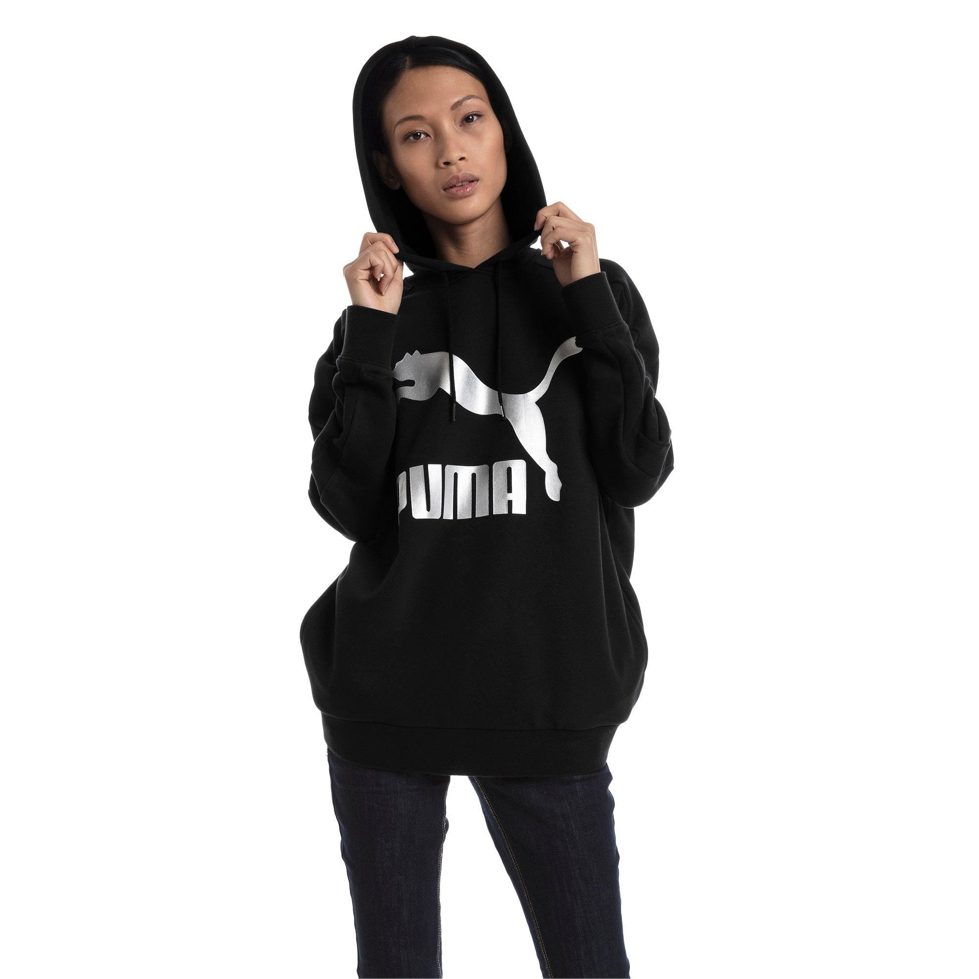 Thumbnail 5 van Classics Logo T7-hoodie voor vrouwen, Zwart katoen-metaal, medium