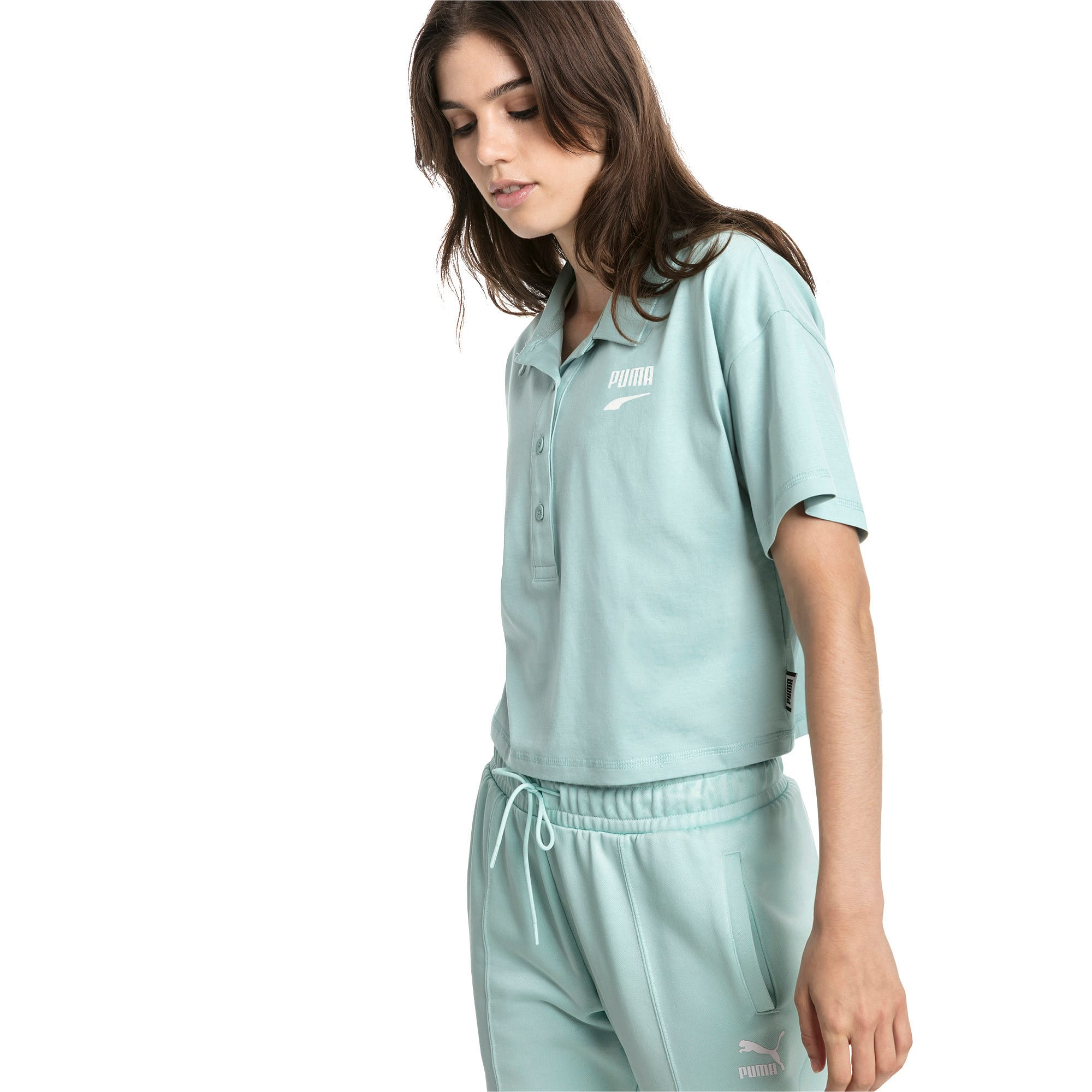 Thumbnail 3 of Downtown Women's Polo Shirt, Aquifer, medium-IND