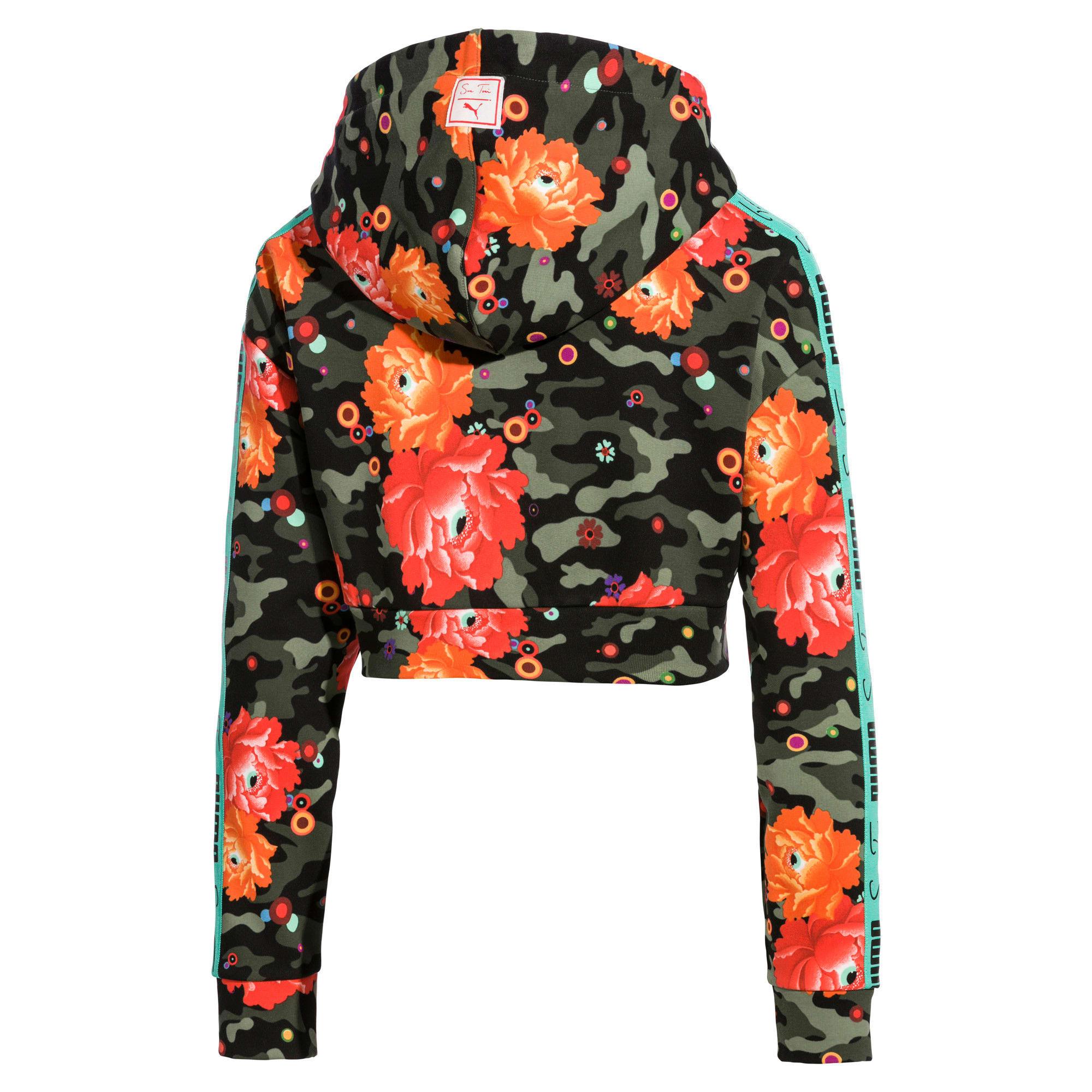 Thumbnail 4 of Cropped PUMA x SUE TSAI hoodie voor dames, - Black- Peony AOP, medium