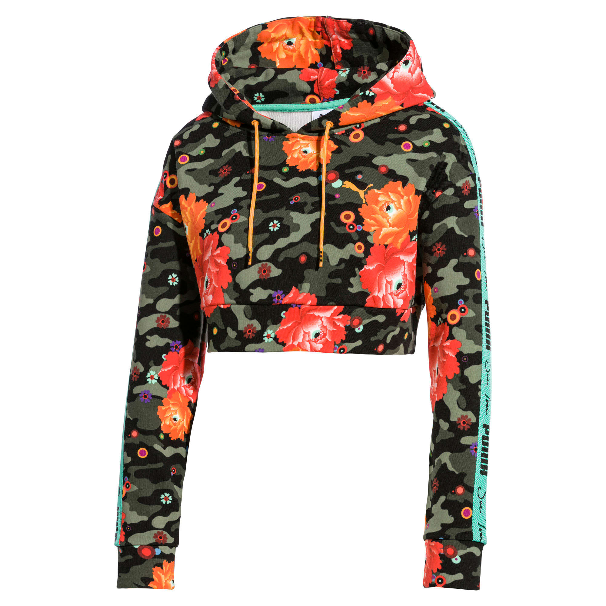Thumbnail 1 of Cropped PUMA x SUE TSAI hoodie voor dames, - Black- Peony AOP, medium