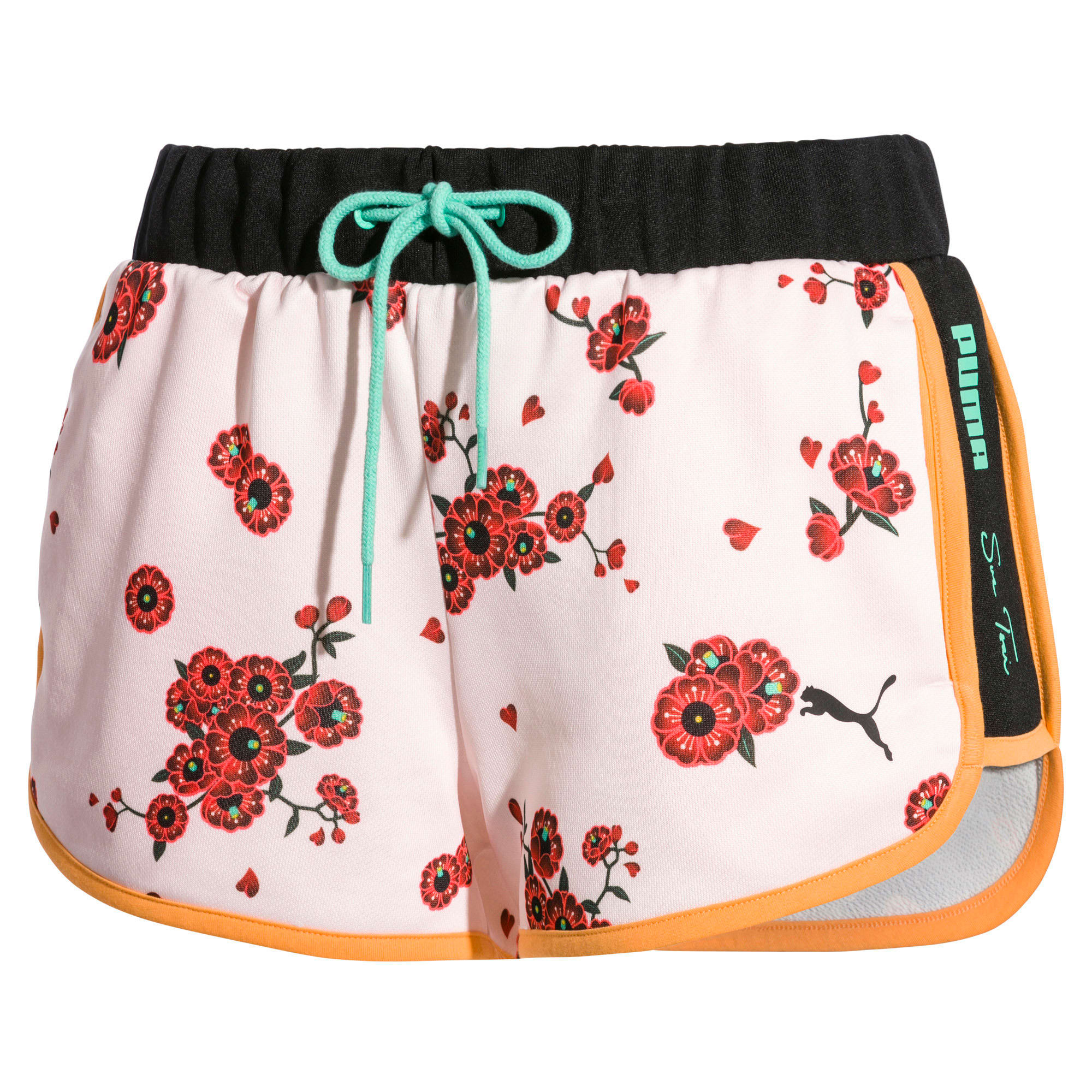Thumbnail 4 of PUMA x SUE TSAI Knitted Women's Shorts, Orange Pop-AOP Pearl-Cherry, medium