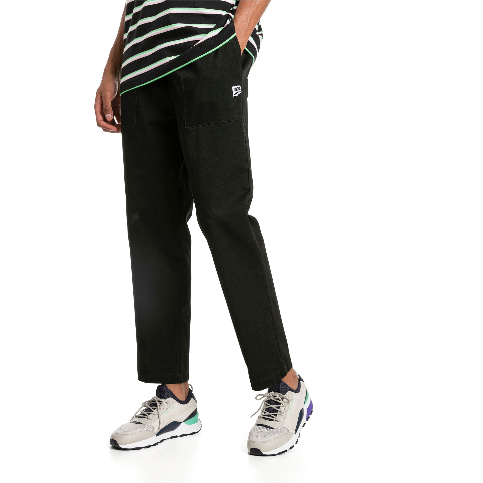 Thumbnail 1 of Downtown Twill Knitted Men's Sweatpants, Cotton Black, medium-IND