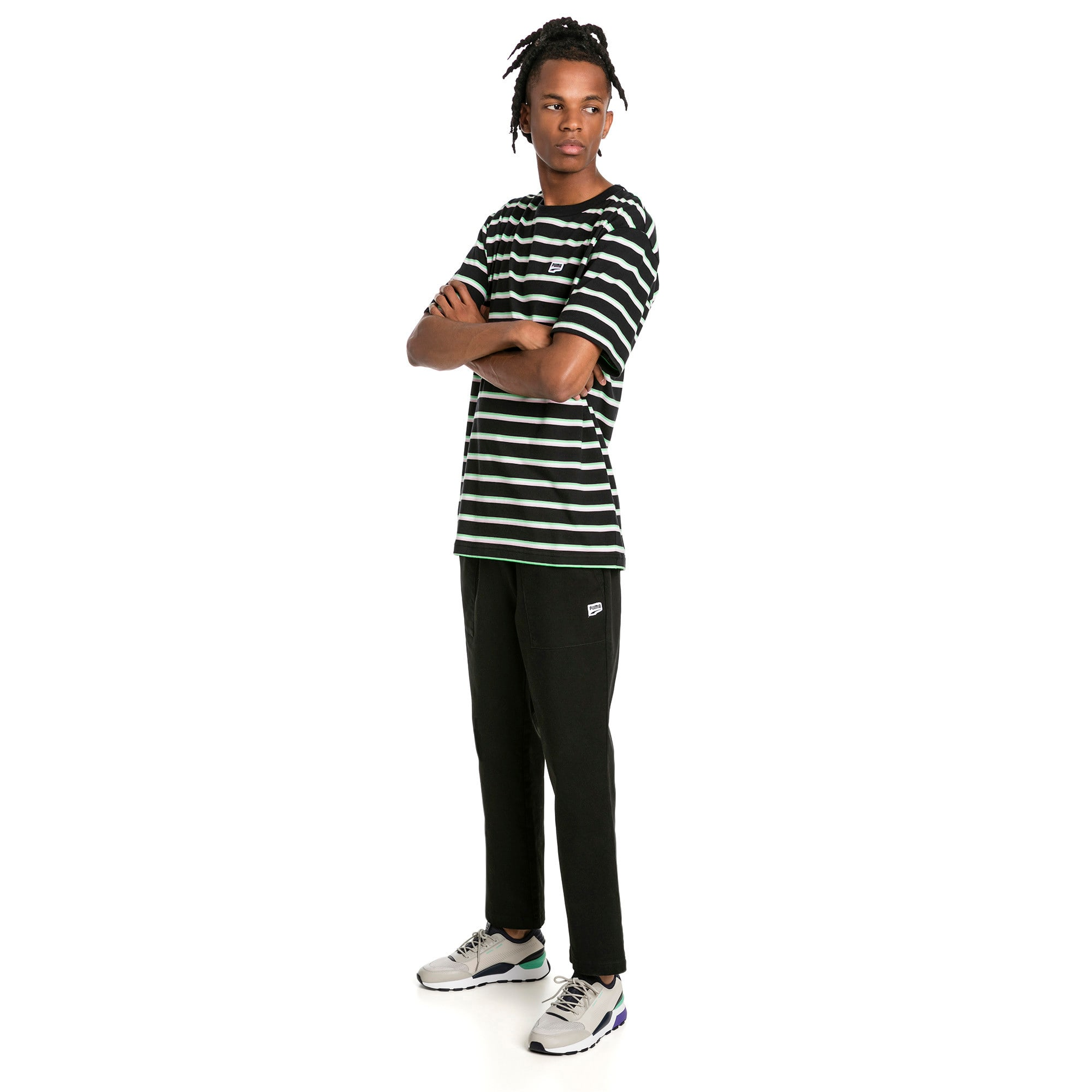 Thumbnail 3 of Downtown Twill Knitted Men's Sweatpants, Cotton Black, medium-IND