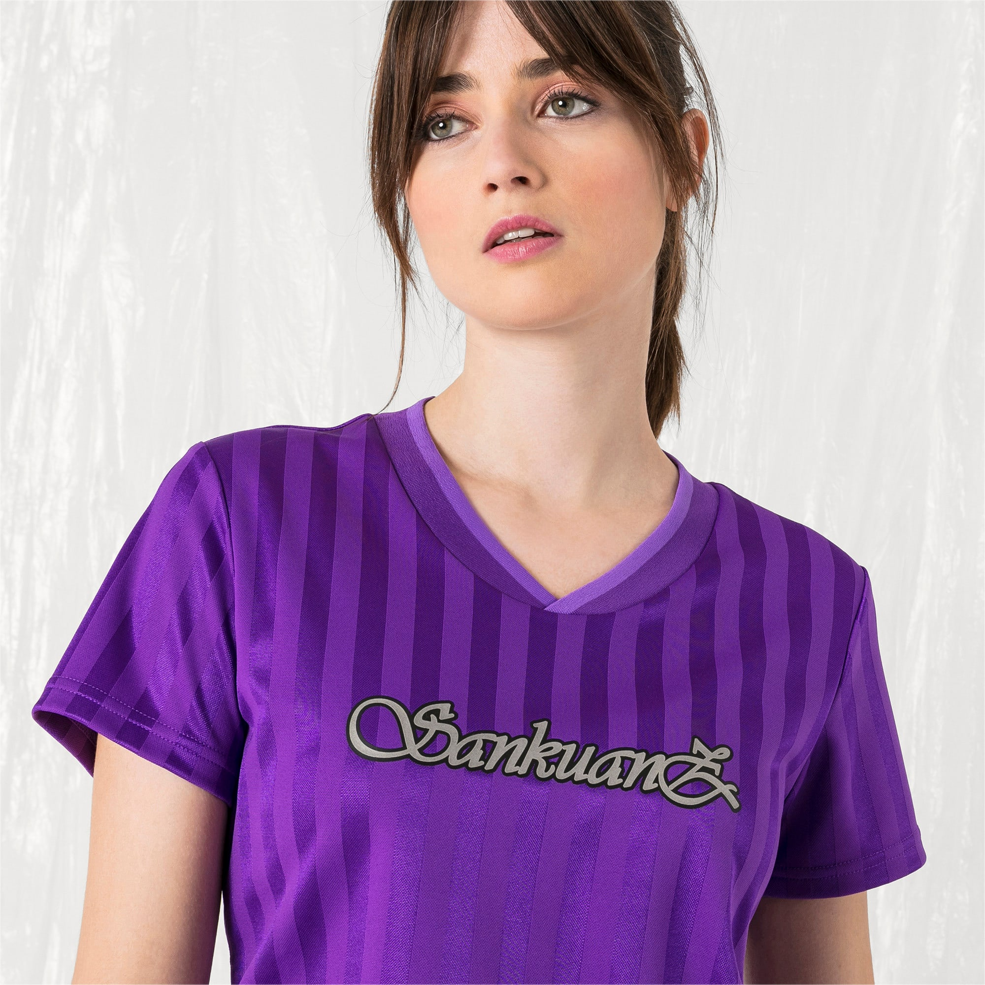 Thumbnail 2 of PUMA x SANKUANZ Women's Jersey Tee, ELECTRIC PURPLE, medium