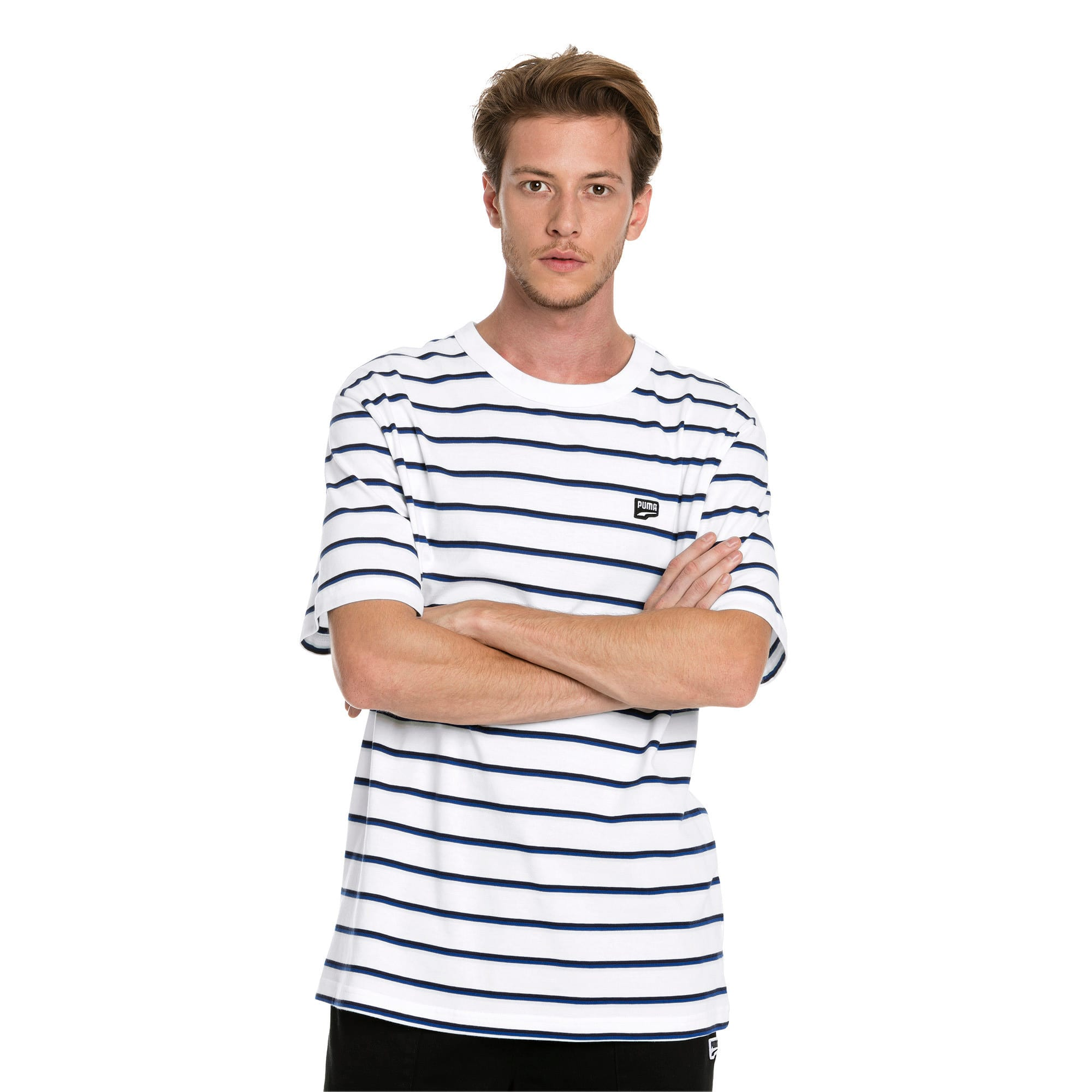 Thumbnail 1 of Downtown Stripe Men's Tee, Puma White, medium-IND