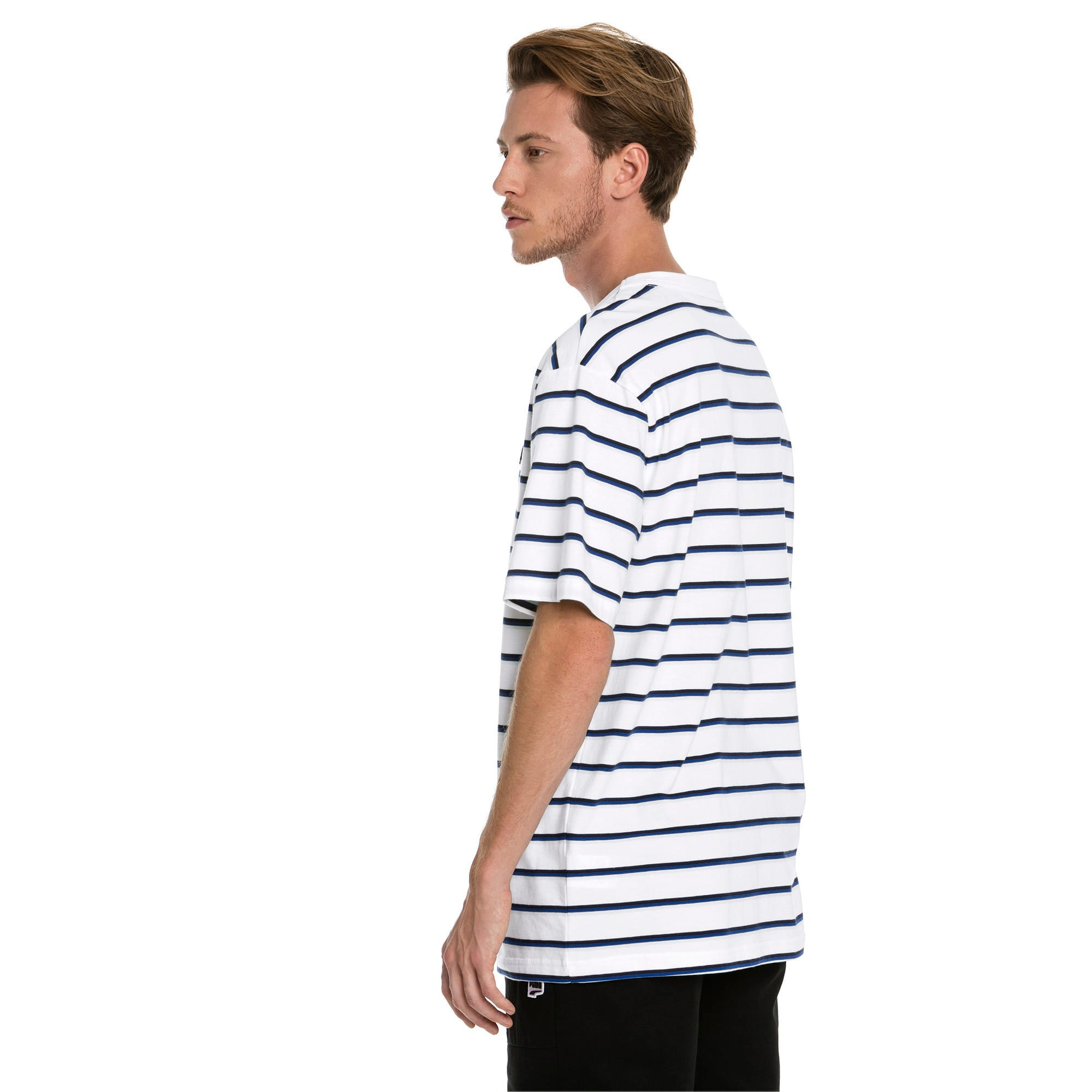 Thumbnail 2 of Downtown Stripe Men's Tee, Puma White, medium-IND