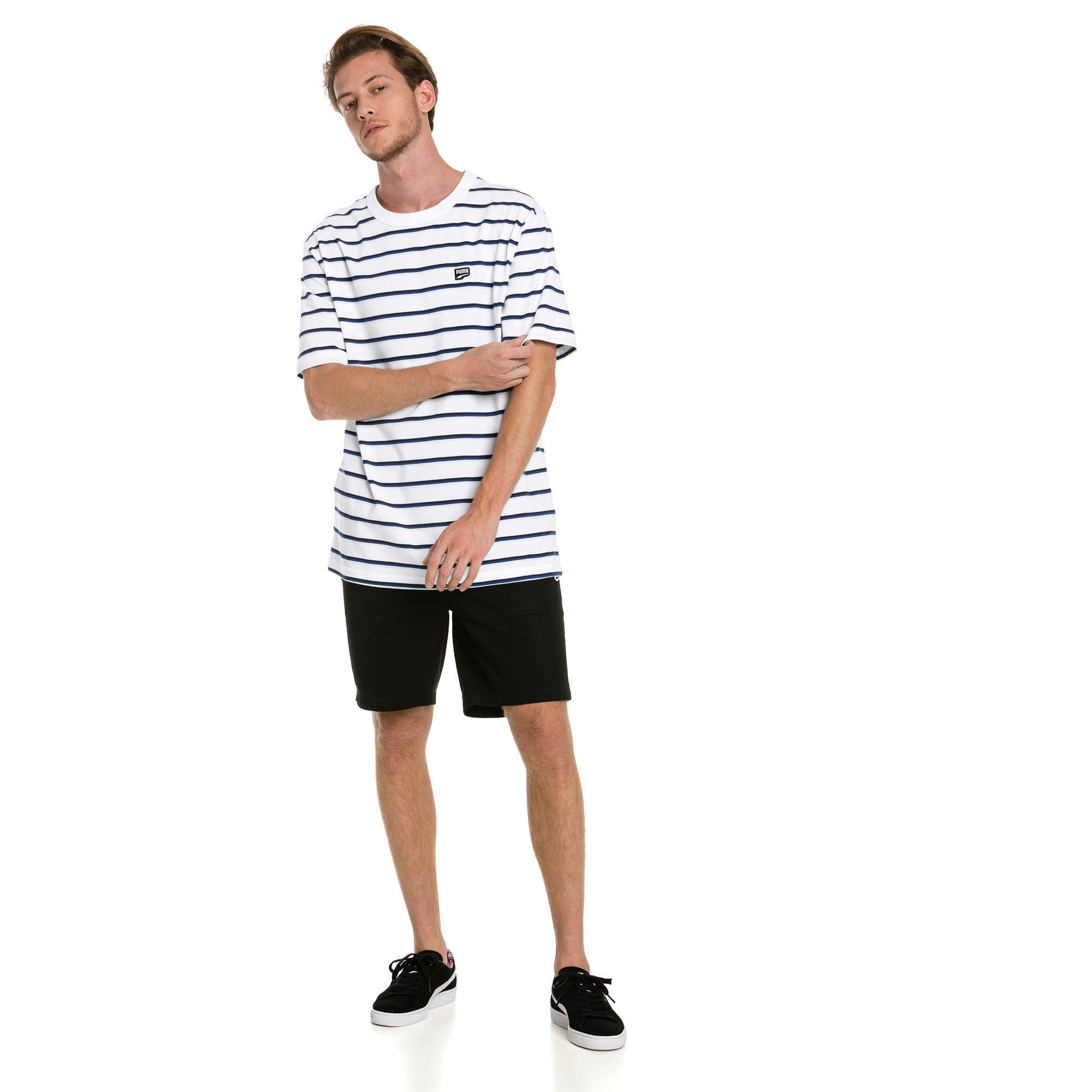 Thumbnail 3 of Downtown Stripe Men's Tee, Puma White, medium-IND