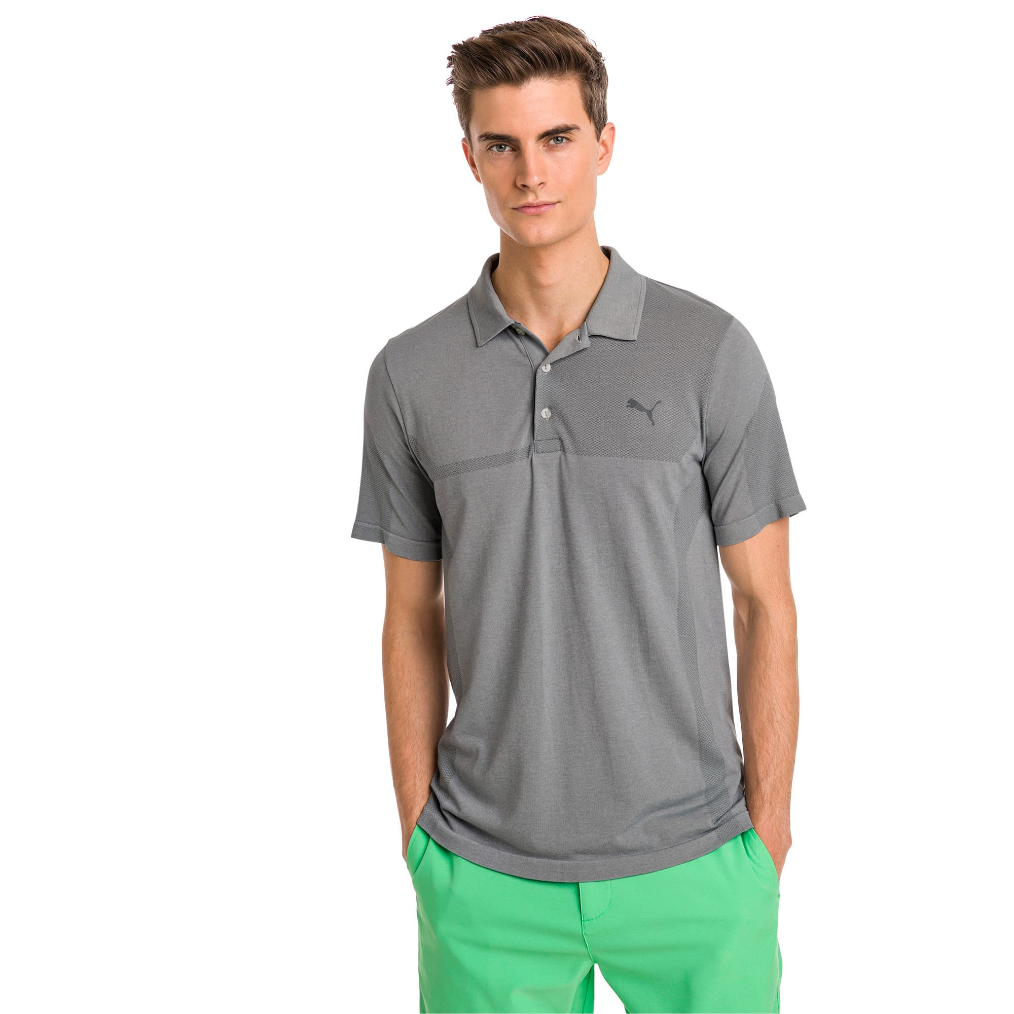 evoKNIT Breakers Men's Golf Polo, Quarry Heather, large