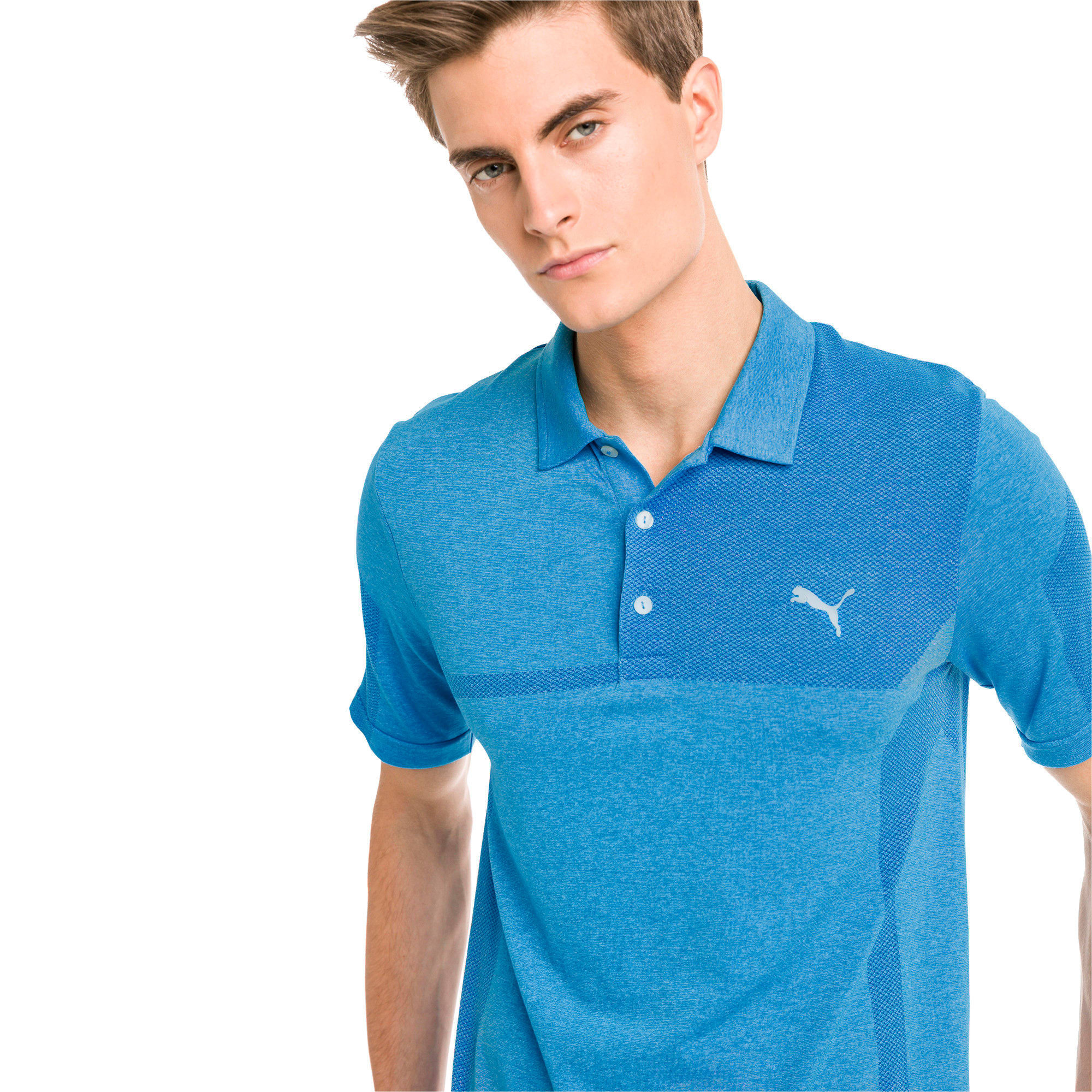 Thumbnail 1 of evoKNIT Breakers Herren Golf Polo, Bleu Azur Heather, medium