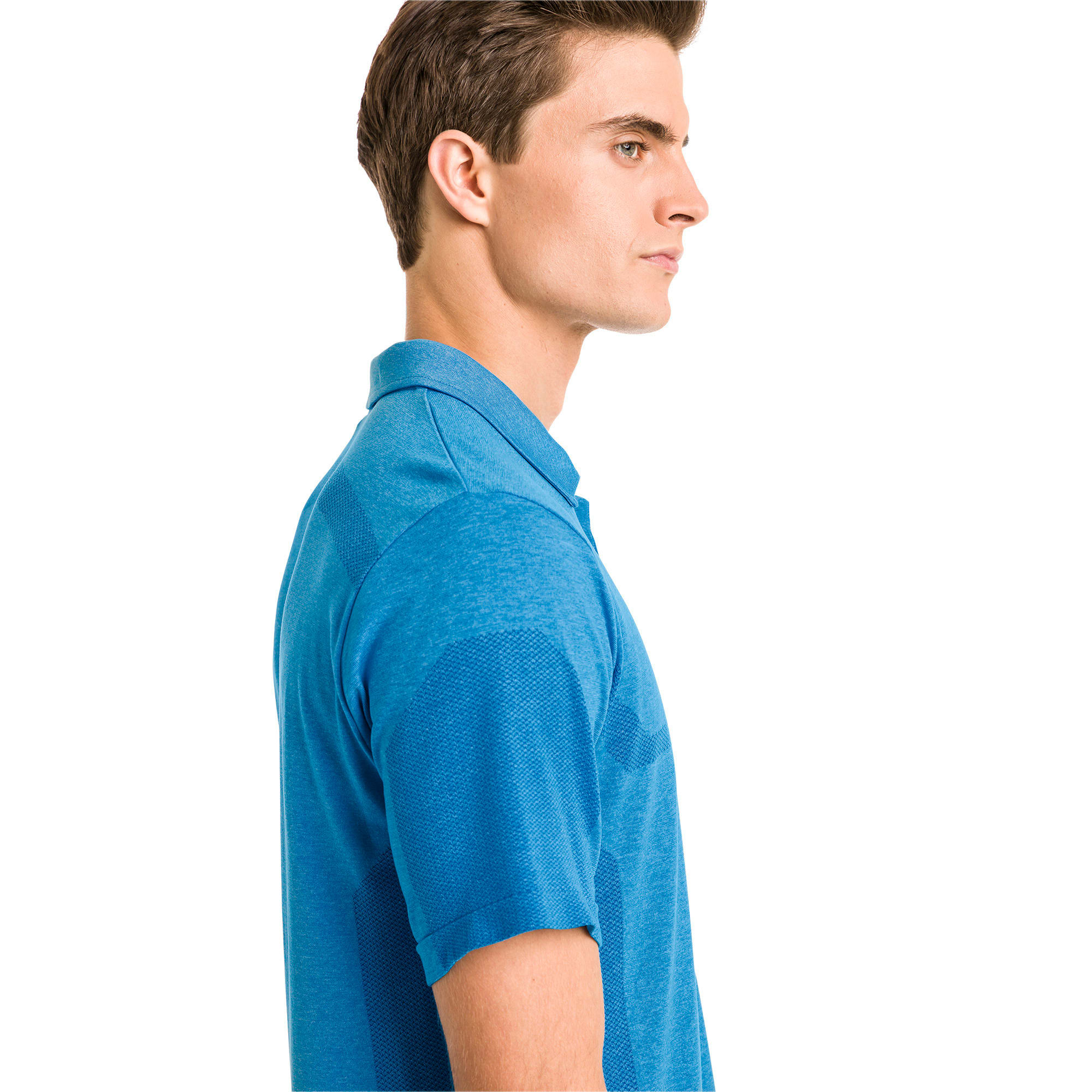 Thumbnail 2 of evoKNIT Breakers Herren Golf Polo, Bleu Azur Heather, medium