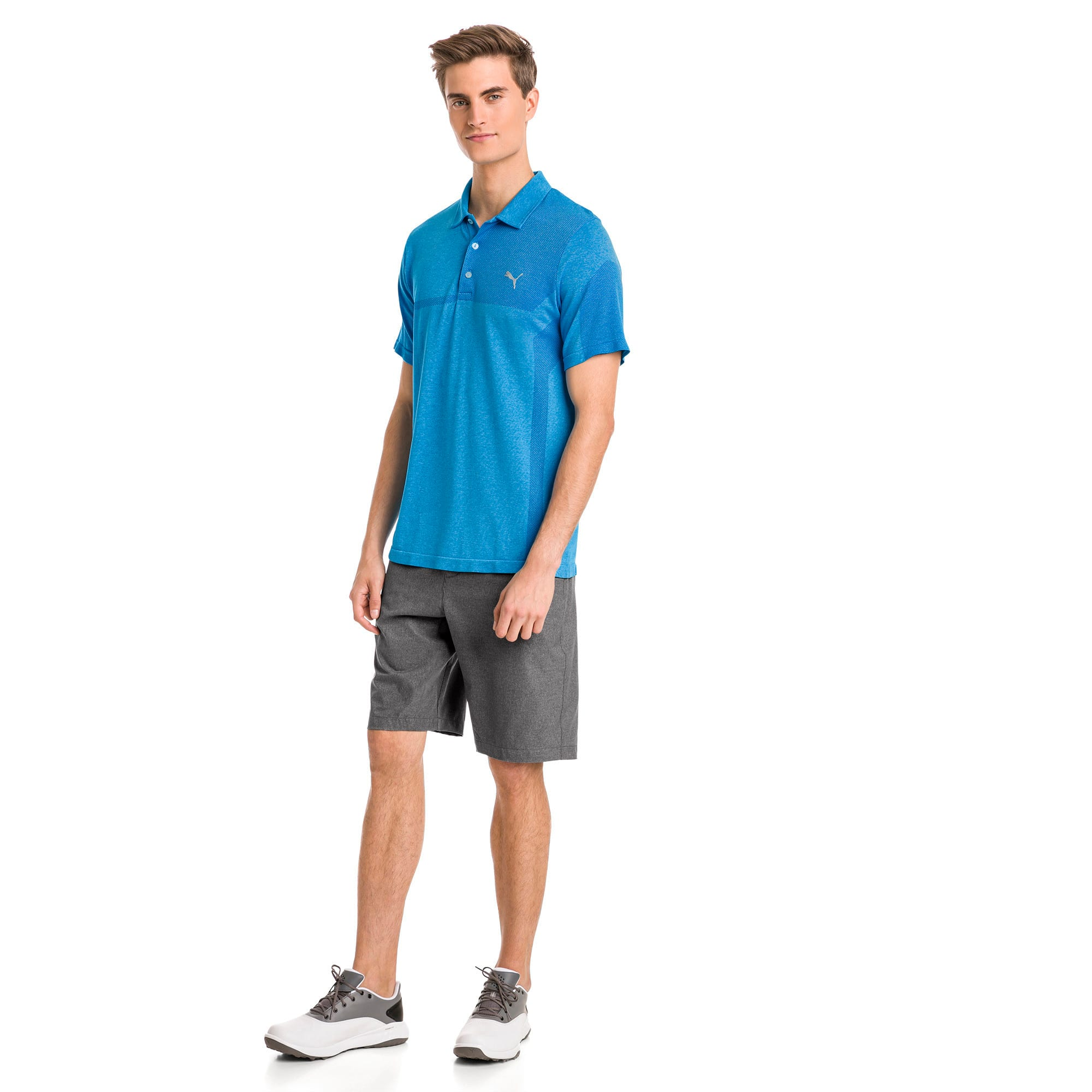 Thumbnail 3 of evoKNIT Breakers Herren Golf Polo, Bleu Azur Heather, medium