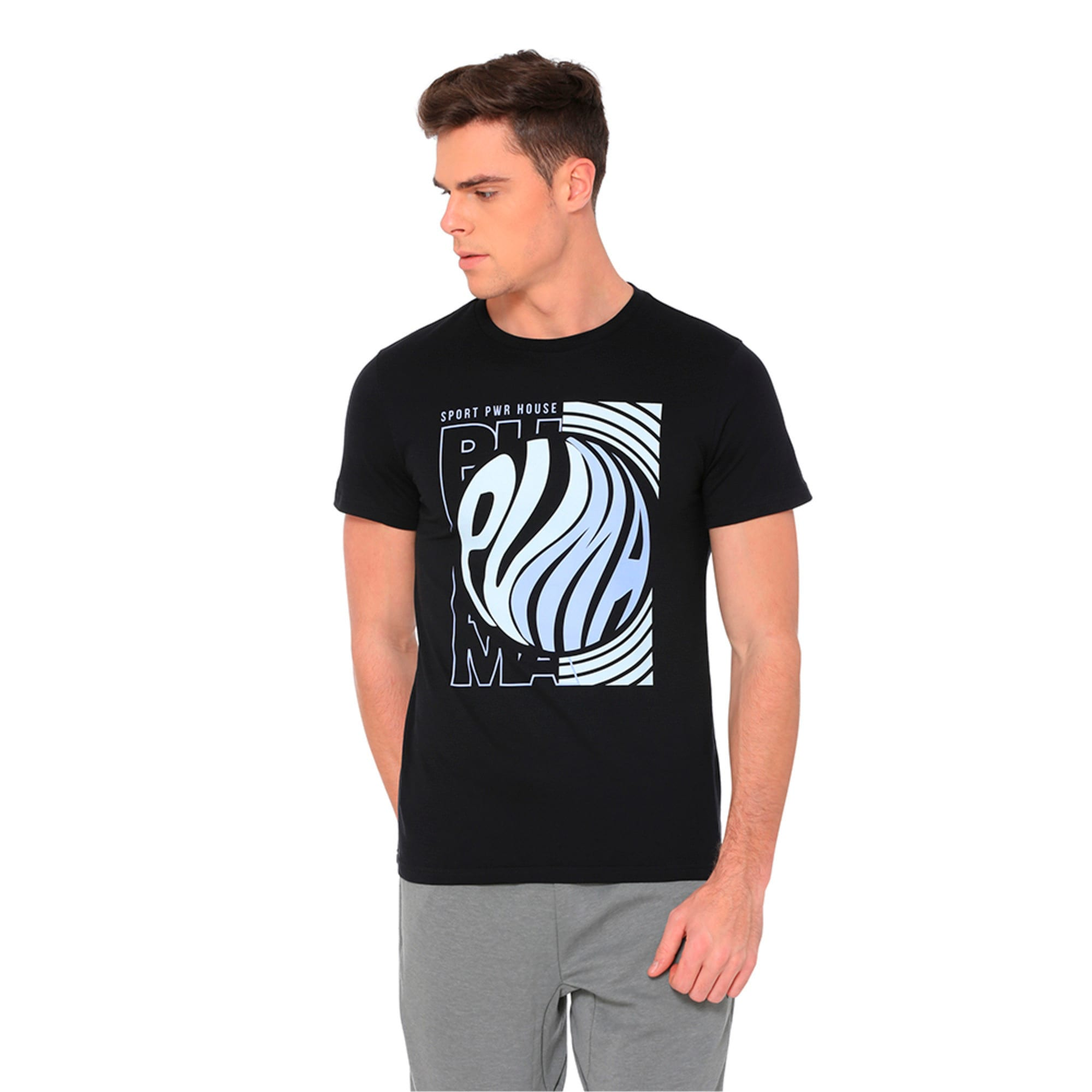 Thumbnail 4 of Graphic Puma Wave Tee, Cotton Black, medium-IND