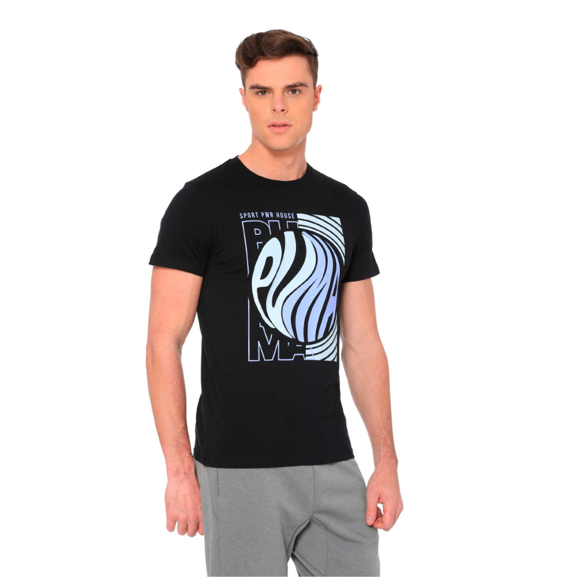 Thumbnail 3 of Graphic Puma Wave Tee, Cotton Black, medium-IND