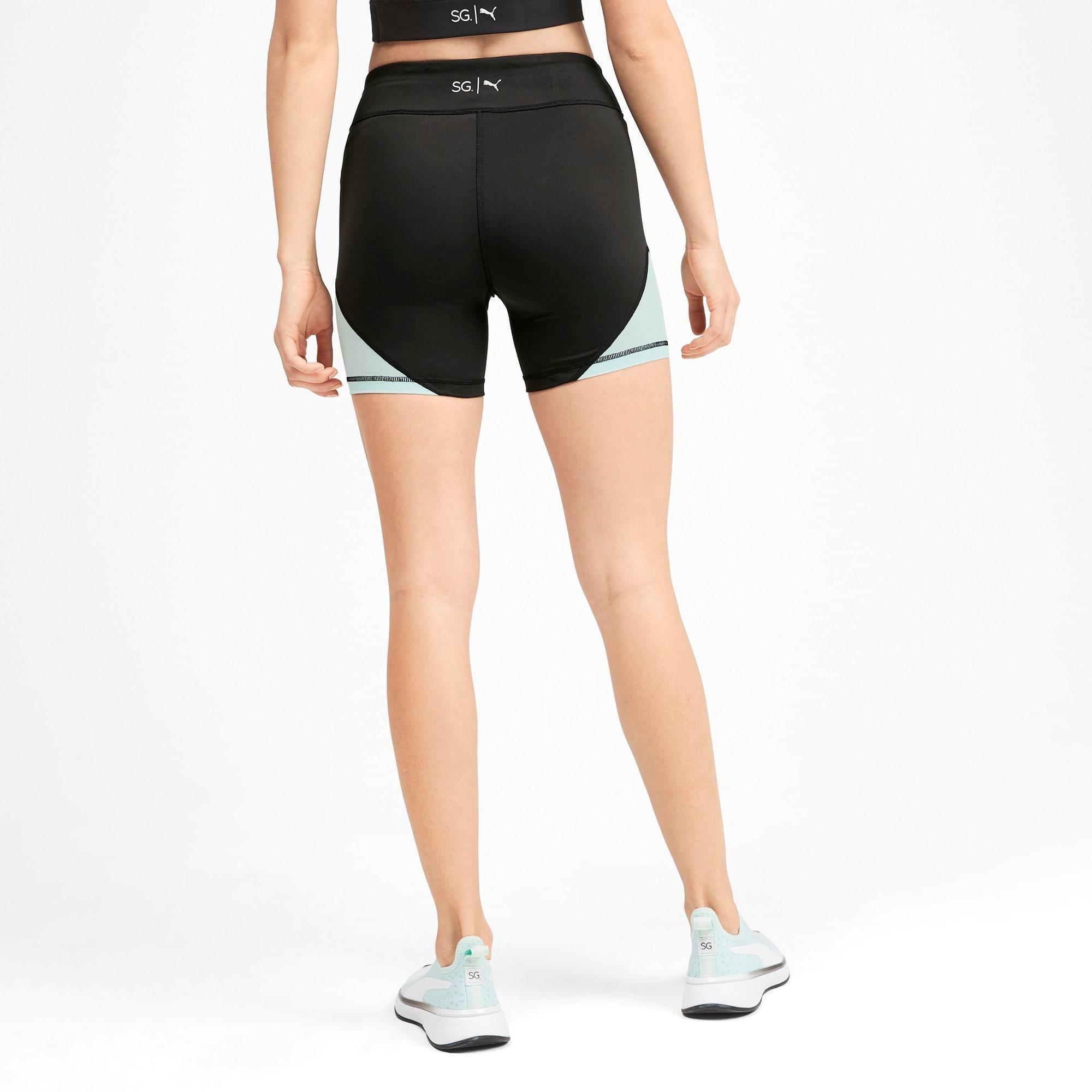 Thumbnail 2 of PUMA x SELENA GOMEZ Women's Short Tights, Puma Black-Fair Aqua, medium